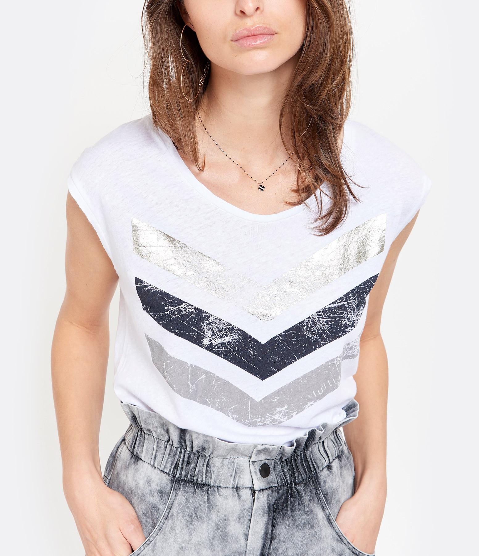 JUNE 7.2 - Tee-shirt Hayden Logo Blanc Doré Argenté, Exclu