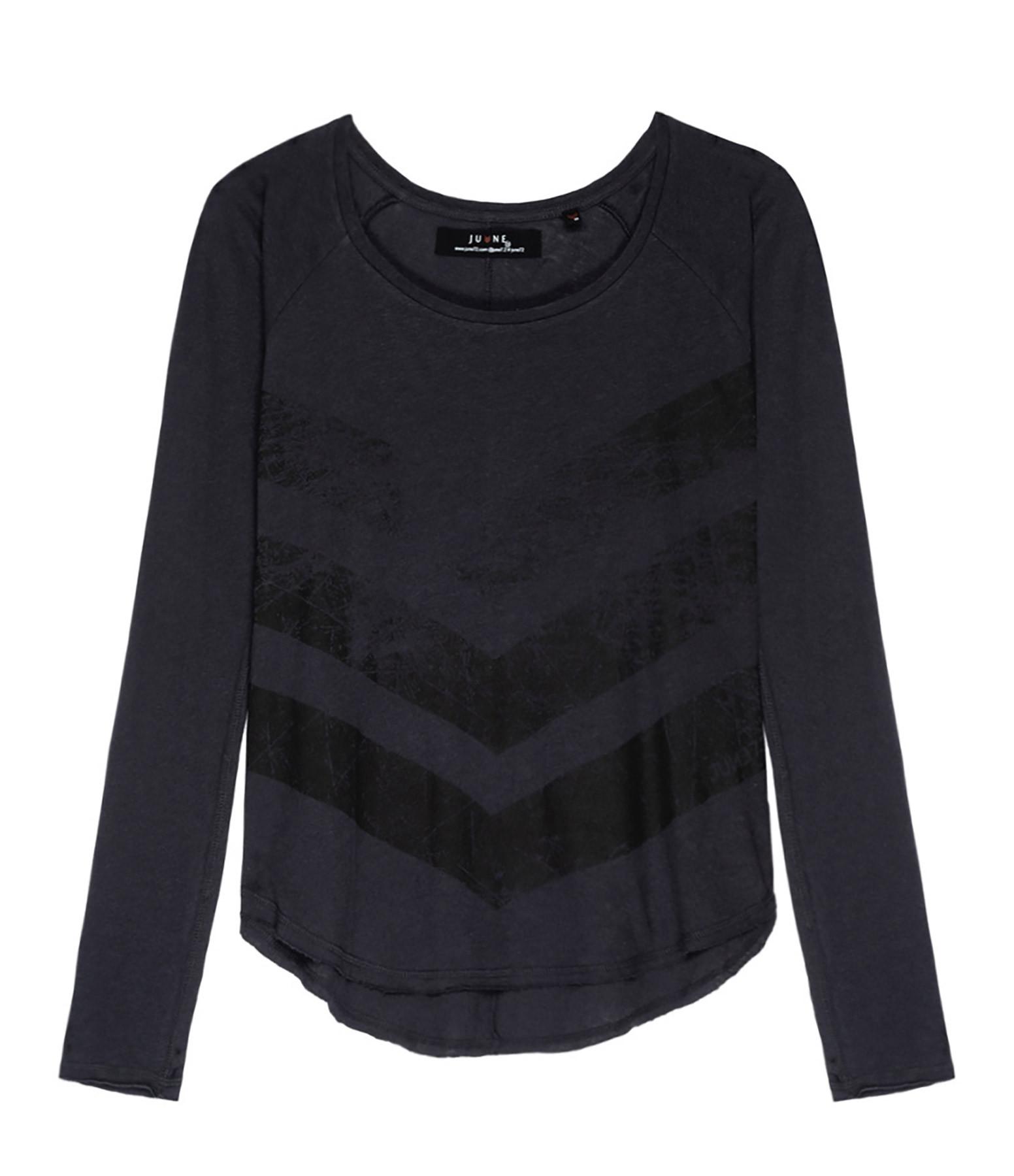 JUNE 7.2 - Tee-shirt Katya Coton Lin Charbon Logo Noir