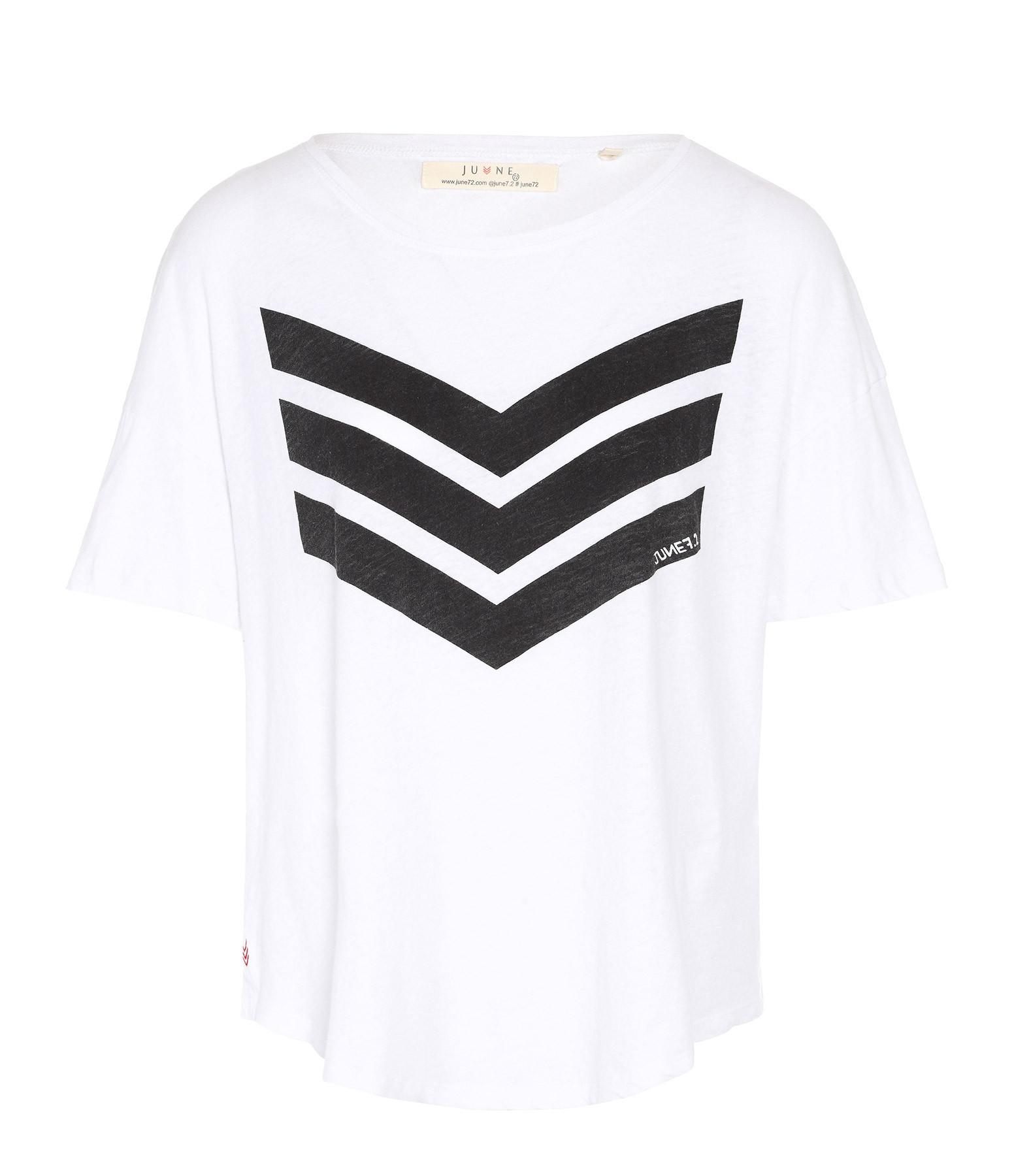 JUNE 7.2 - Tee-shirt Uma Coton Lin Blanc Logo Noir