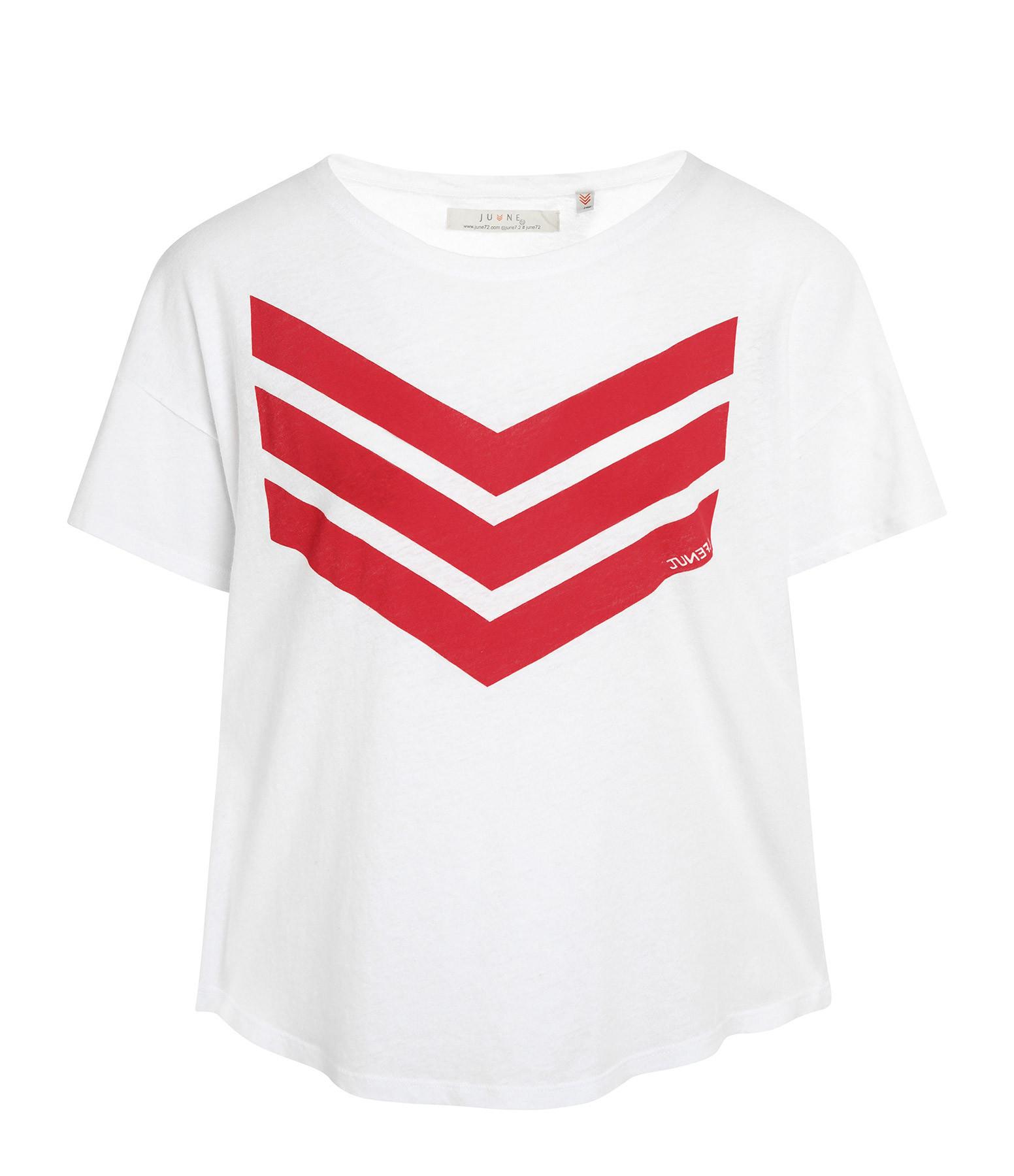 JUNE 7.2 - Tee-shirt Uma Coton Lin Blanc Logo Rouge