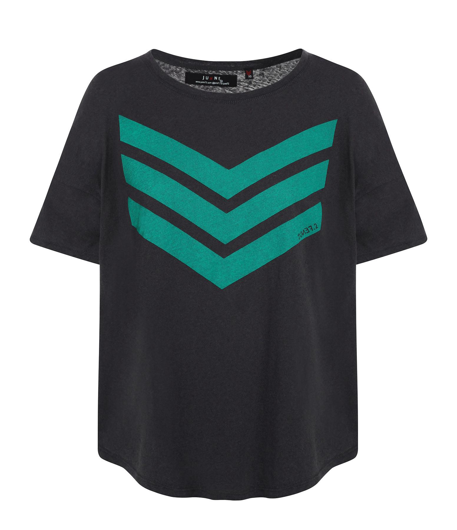 JUNE 7.2 - Tee-shirt Uma Coton Lin Charbon Logo Vert