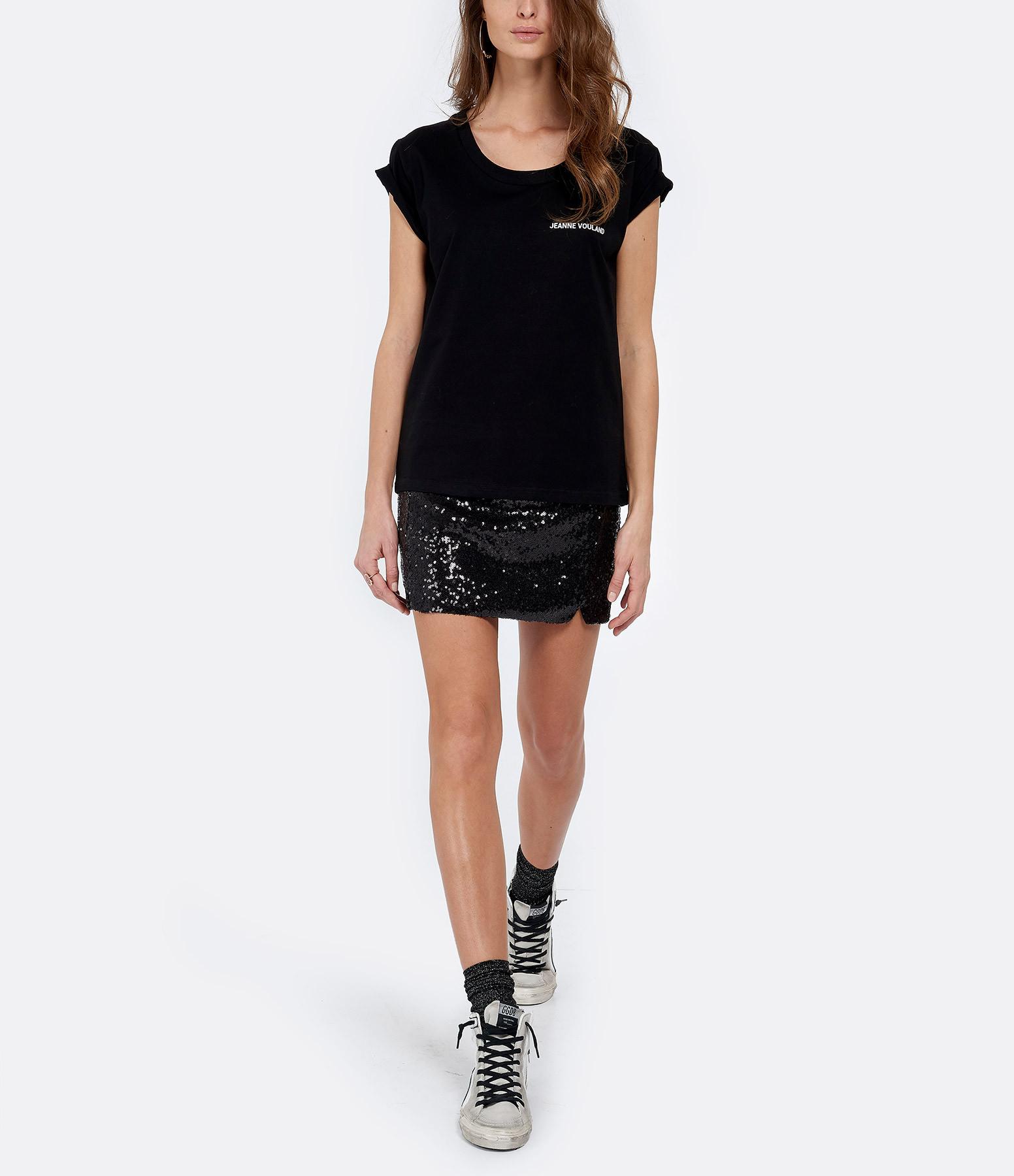 JEANNE VOULAND - Tee-shirt Ari JV Col Rond Noir Imprimé Blanc