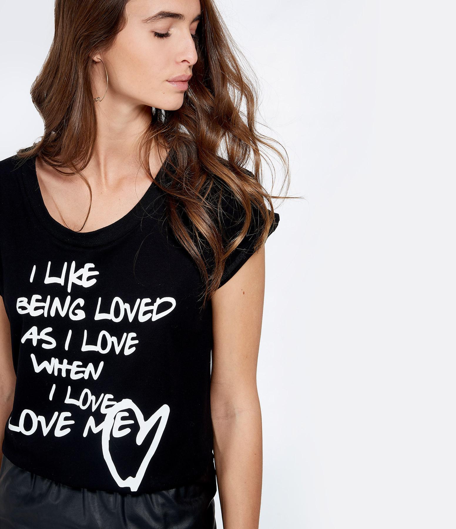 JEANNE VOULAND - Tee-shirt Ari I Like Col Rond Noir Imprimé Blanc