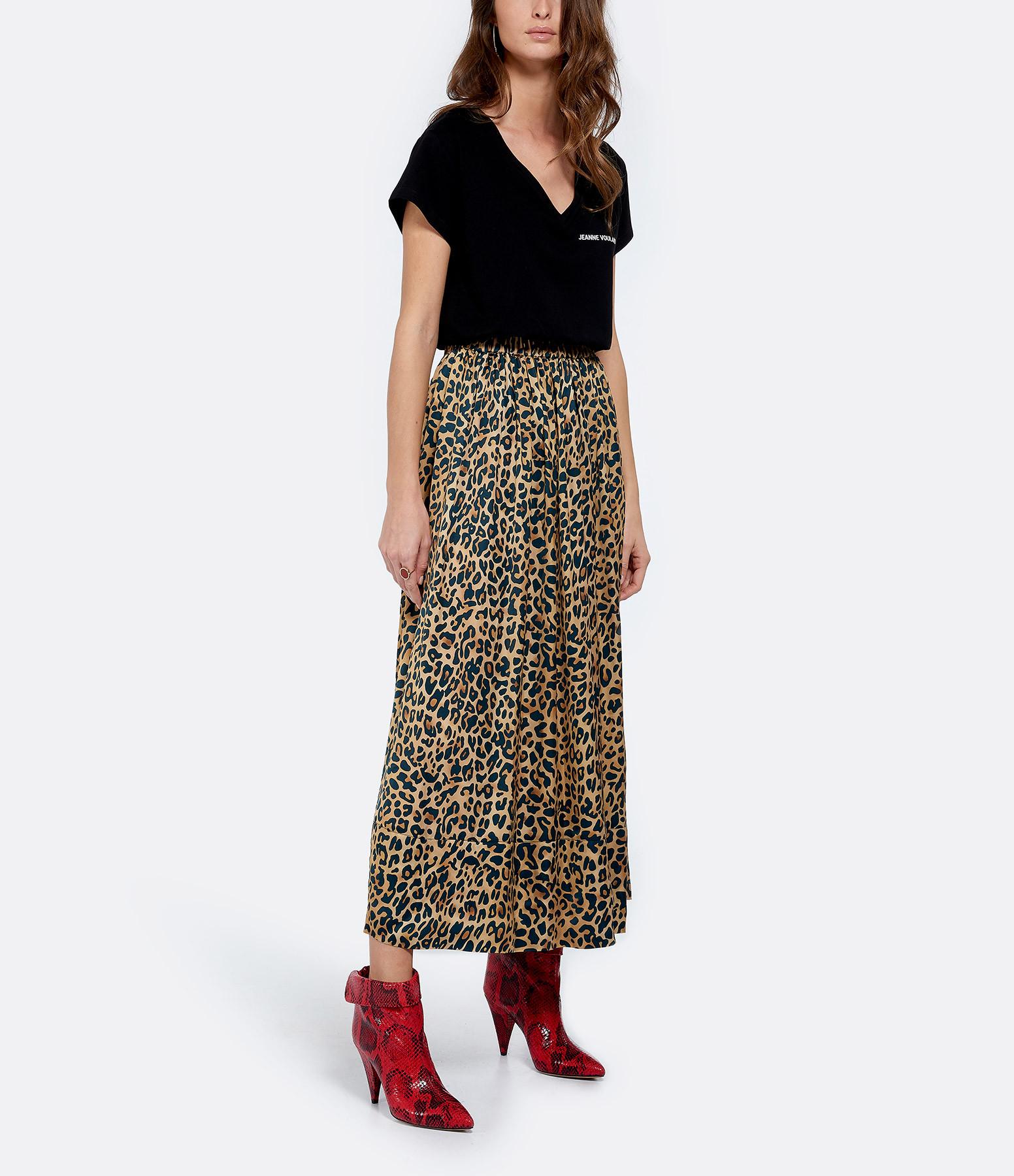 JEANNE VOULAND - Tee-shirt Aria JV Col V Noir Imprimé Blanc