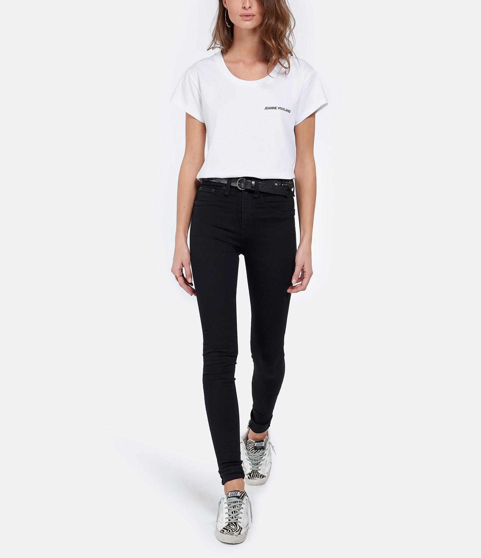 JEANNE VOULAND - Tee-shirt Ari JV Col Rond Blanc Imprimé Noir