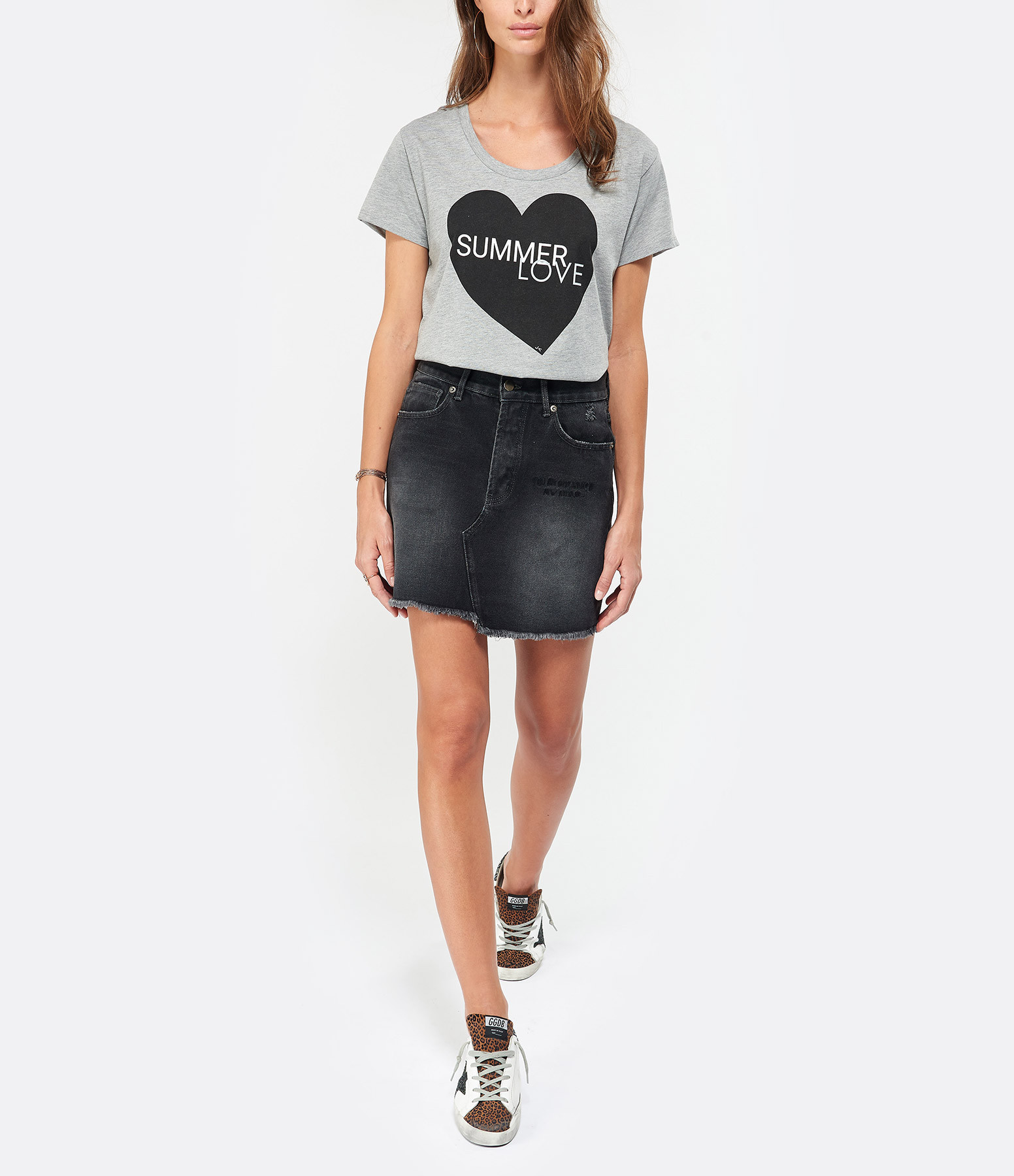 JEANNE VOULAND - Tee-shirt Bob Summer Love Gris Imprimé Noir