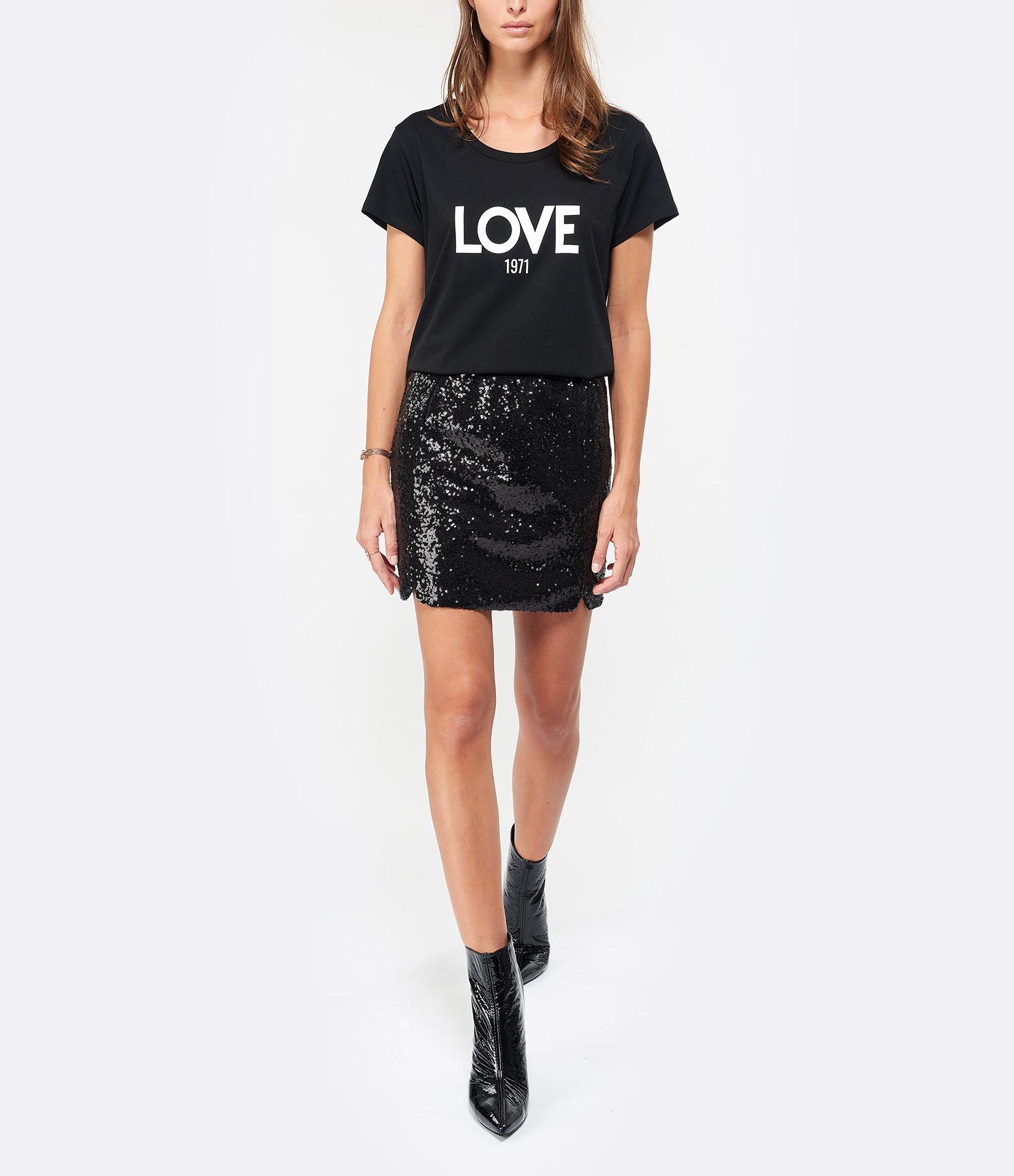 JEANNE VOULAND - Tee-shirt Ben Love 1971 Noir Imprimé Blanc