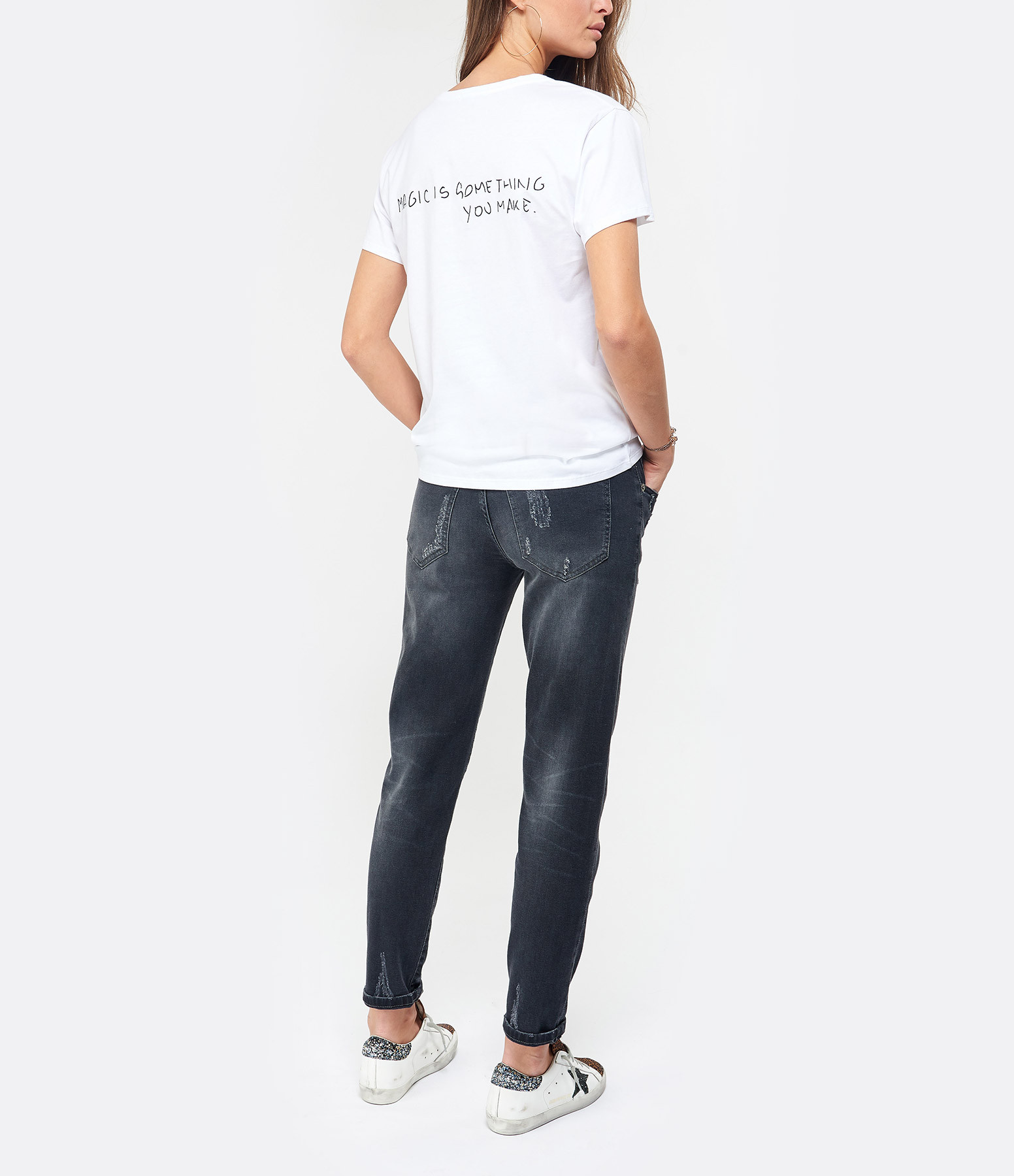 JEANNE VOULAND - Tee-shirt Baria Broderie Magic Is Blanc
