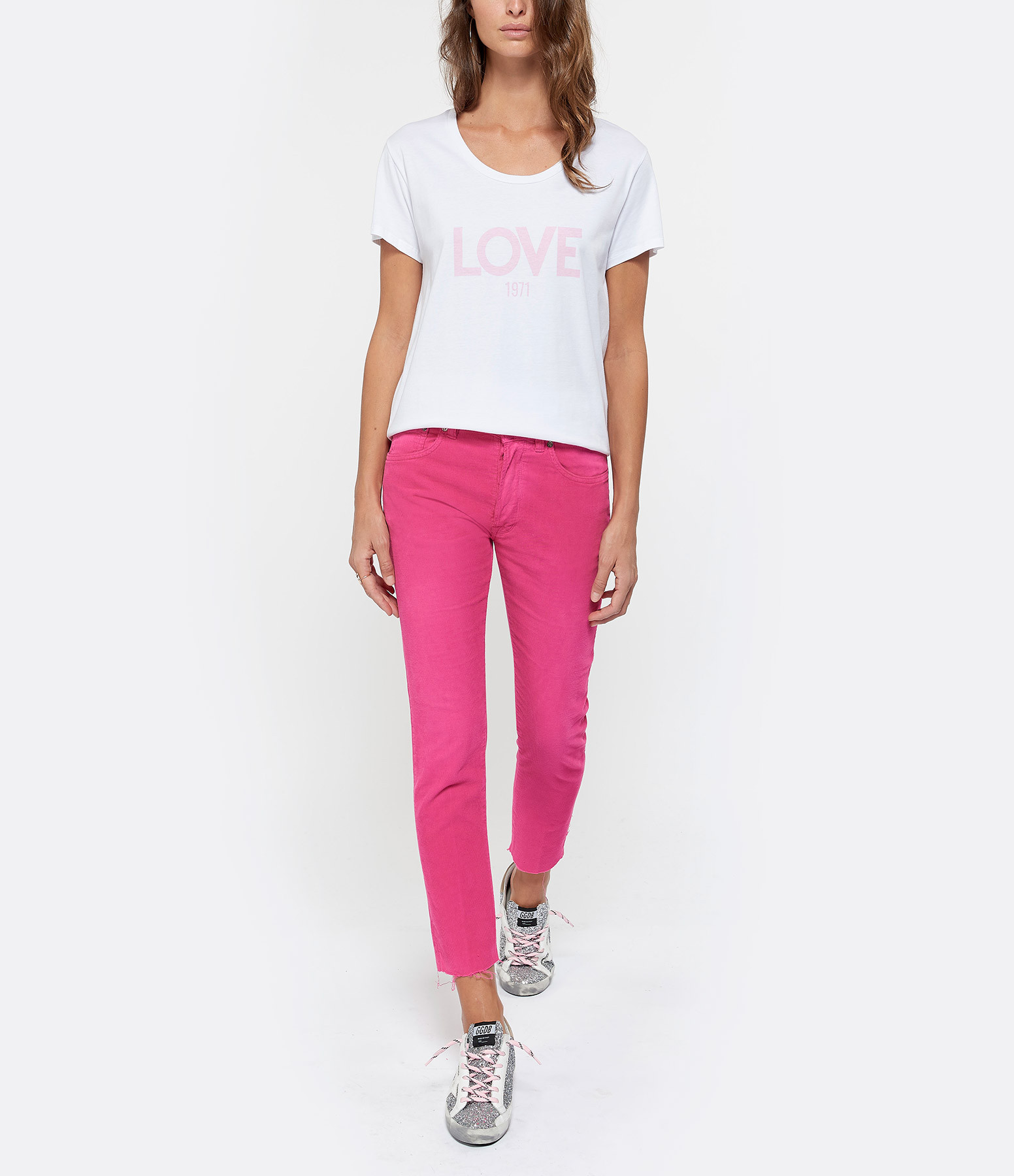 JEANNE VOULAND - Tee-shirt Ben Love 1971 Coton Blanc Rose