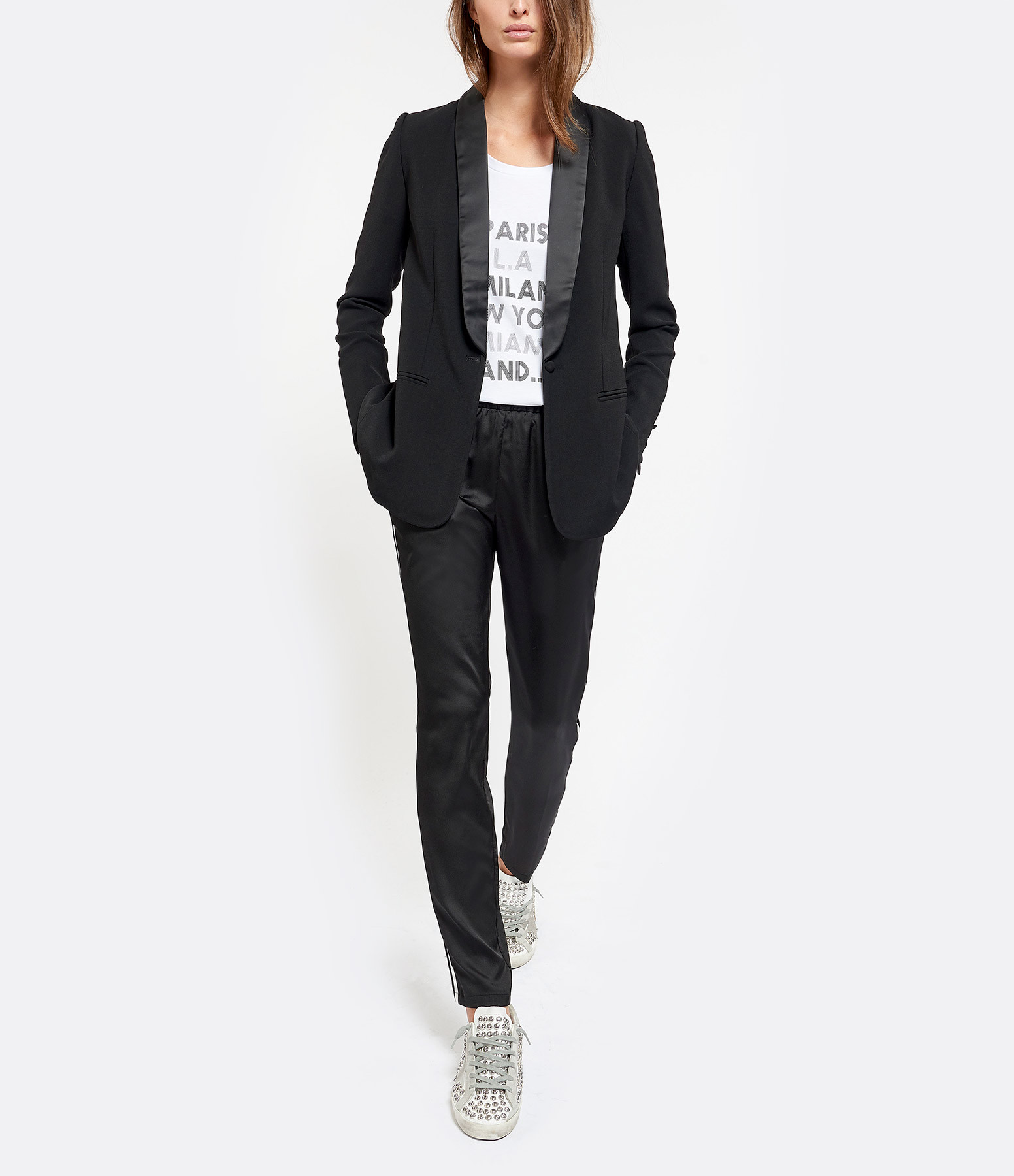 JEANNE VOULAND - Pantalon Cara Bandes Noir Blanc