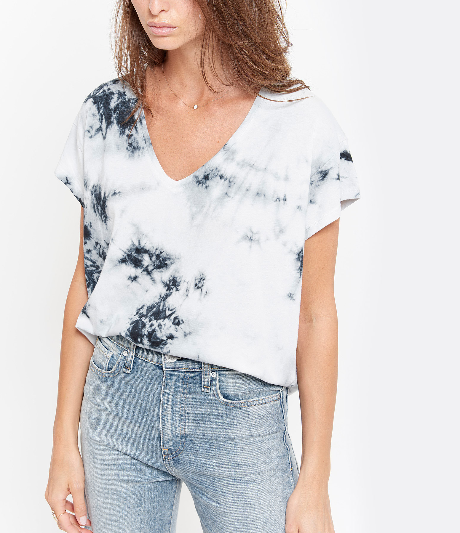 JEANNE VOULAND - Tee-shirt Dale Tie and Dye Noir Blanc