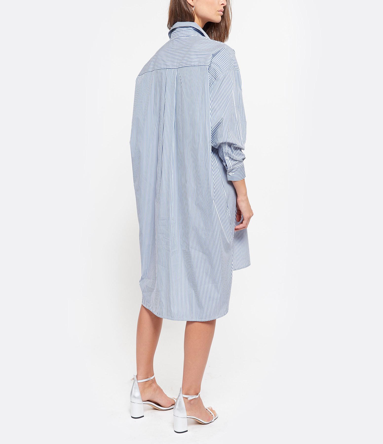 JEANNE VOULAND - Robe Chemise Dakota Rayée Bleu Blanc