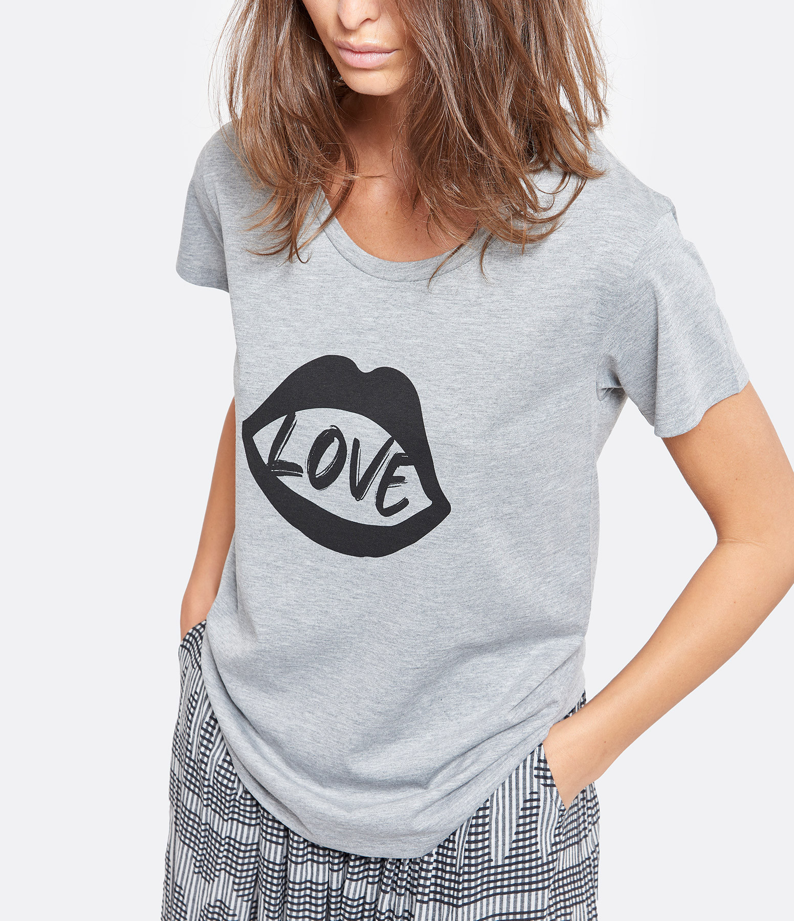JEANNE VOULAND - Tee-shirt Evon Mouth Coton Gris