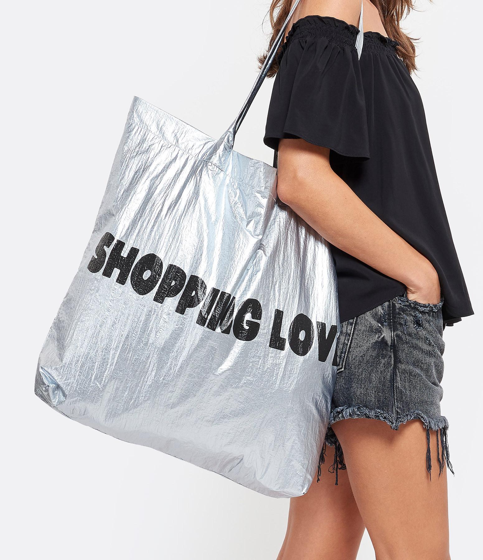 JEANNE VOULAND - Cabas Shopping Love Argenté Noir