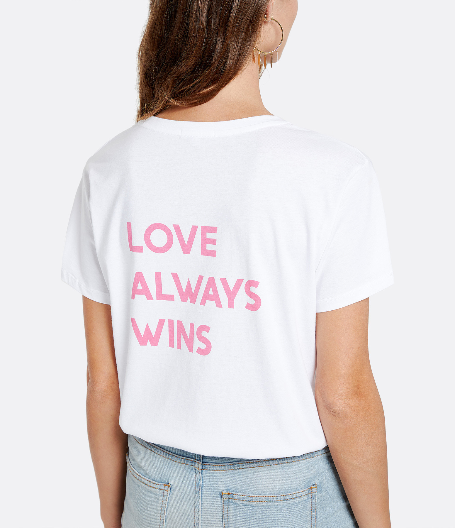 JEANNE VOULAND - Tee-shirt Ela Love Always Wins Coton Blanc Rose