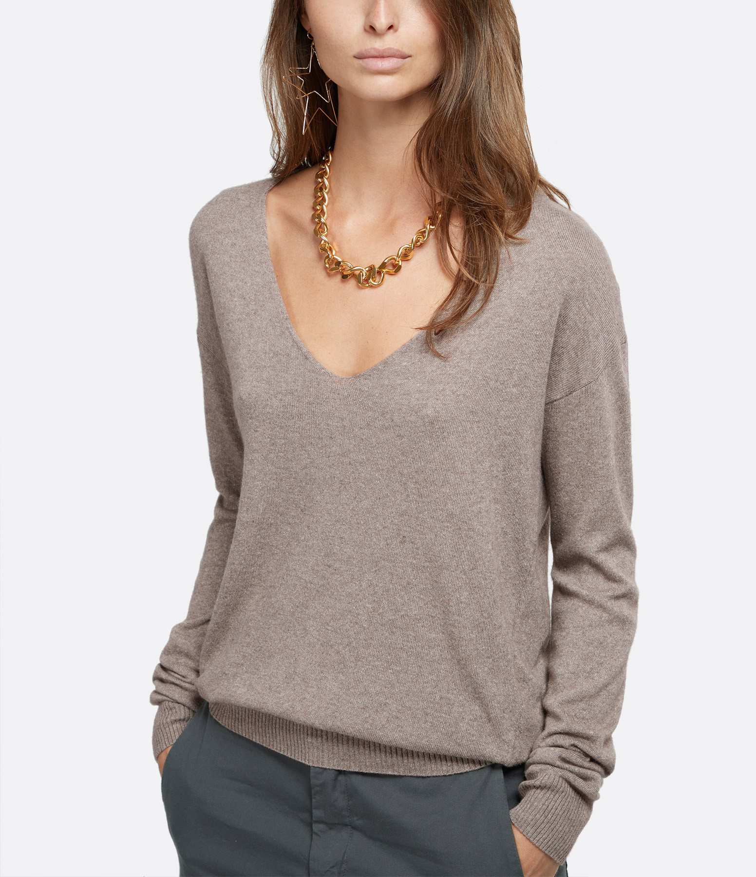 JEANNE VOULAND - Pull Cenzo Col V Taupe