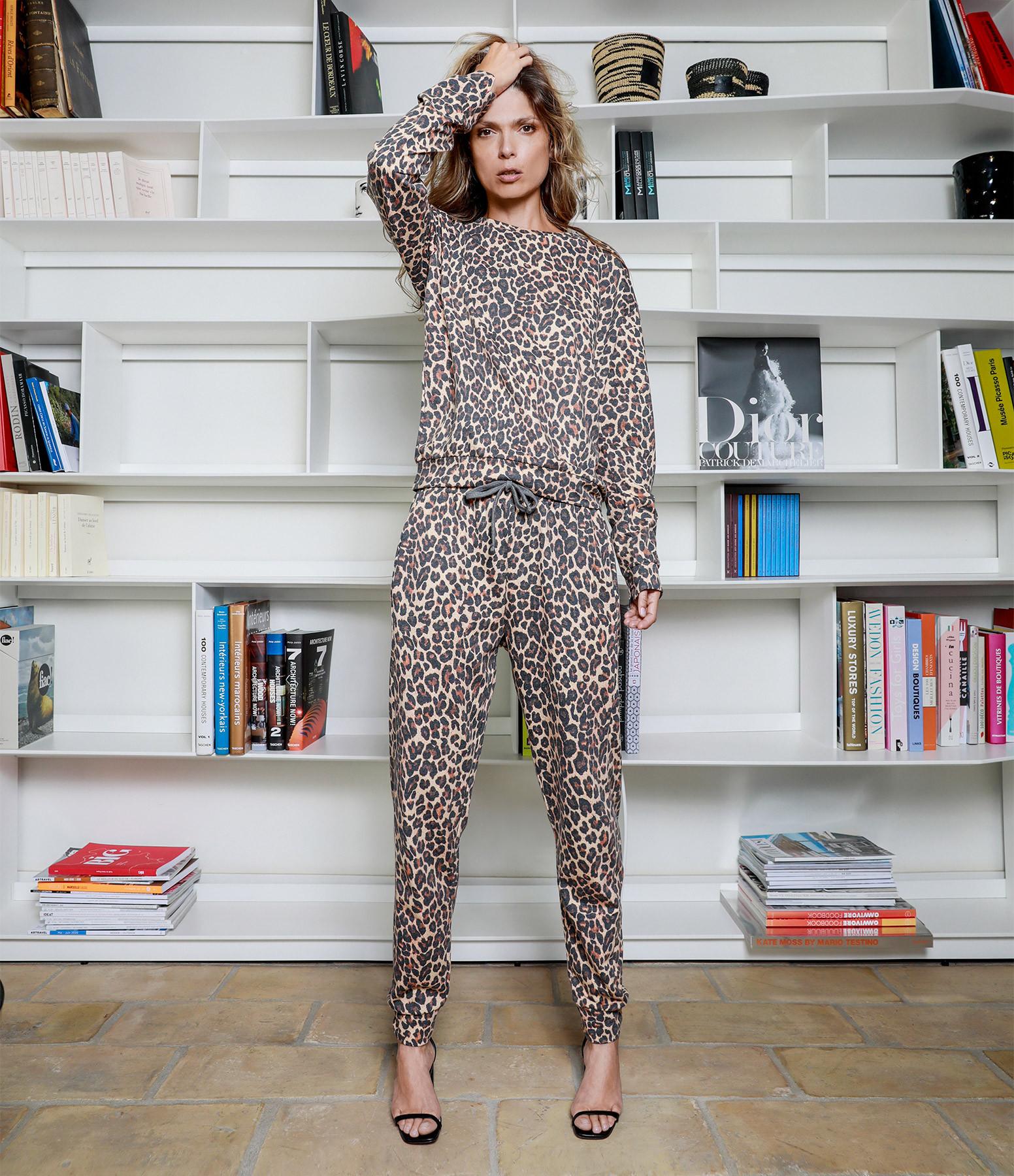 JEANNE VOULAND - Sweatshirt Eylo Coton Imprimé Léopard Beige