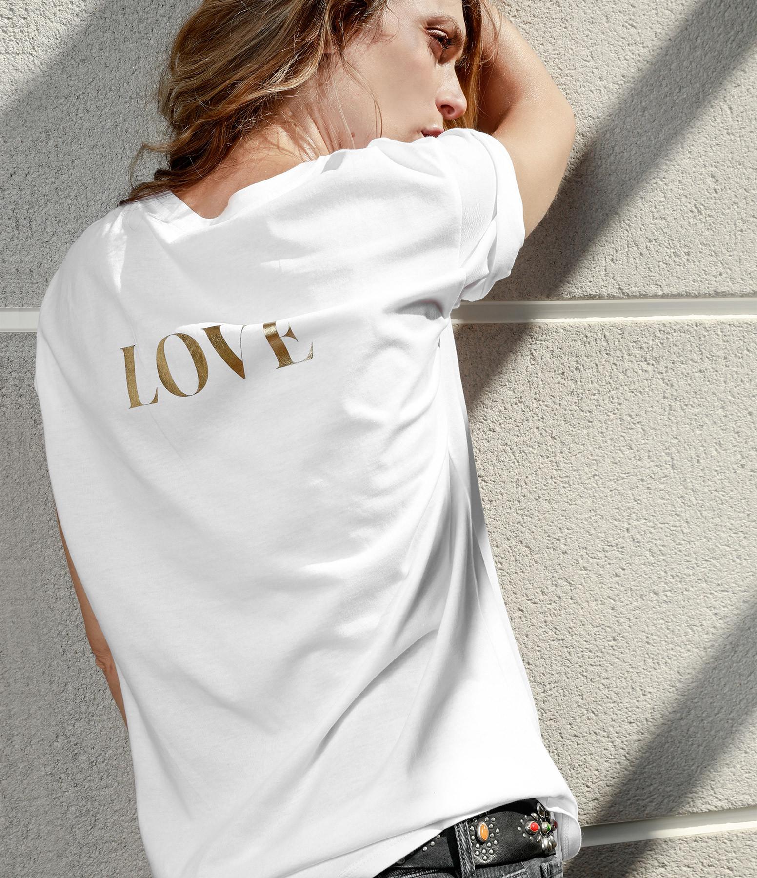 JEANNE VOULAND - Tee-shirt Cris Rock Love Doré Blanc
