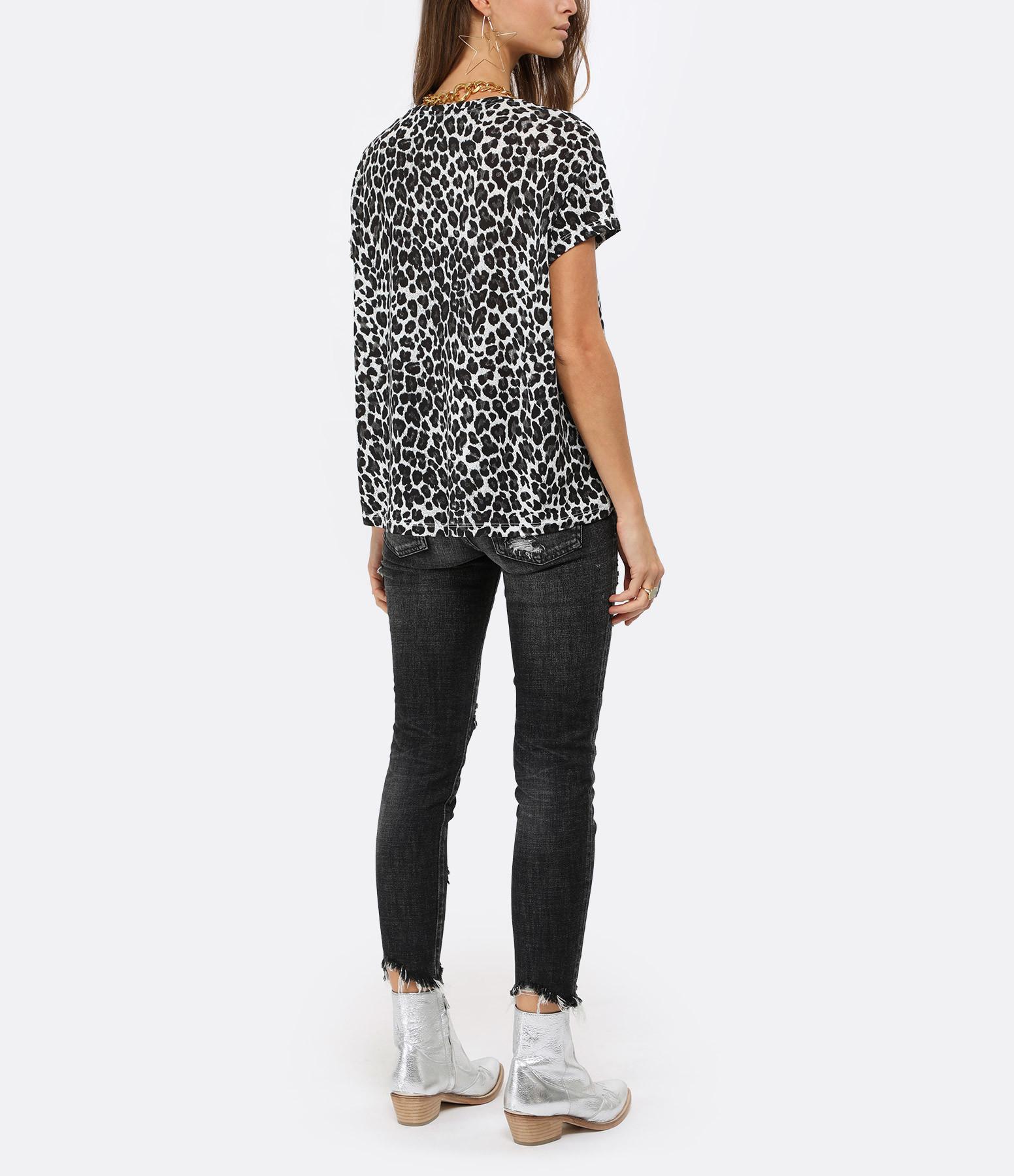 JEANNE VOULAND - Tee-shirt Lyocell Imprimé Léopard Gris