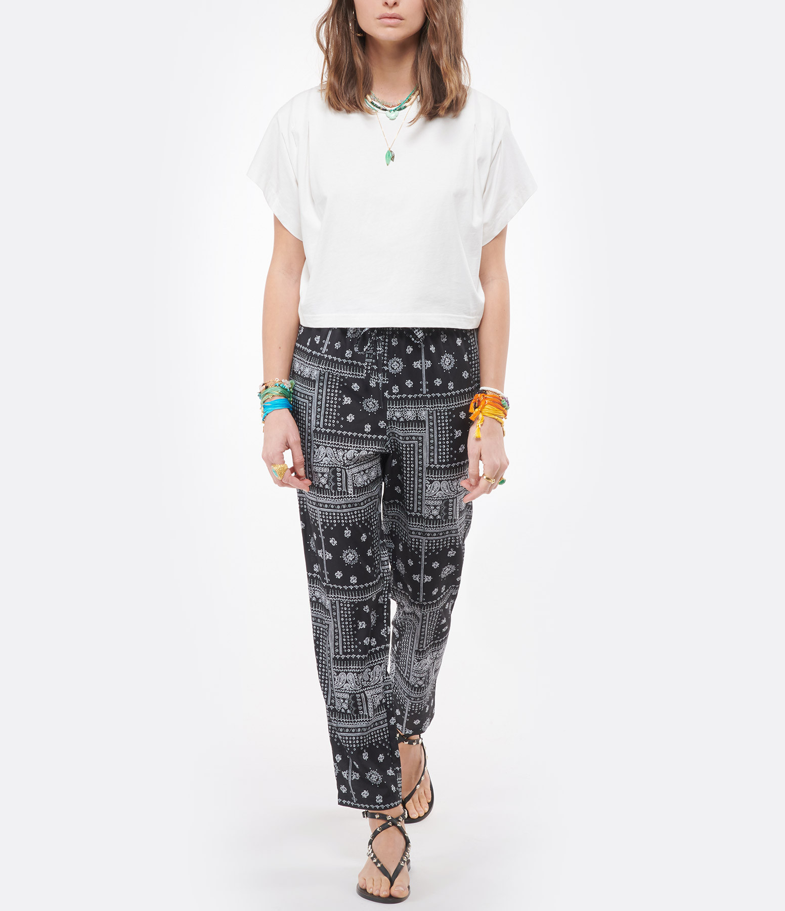 JEANNE VOULAND - Pantalon Maha Paisley Bandana Noir Blanc