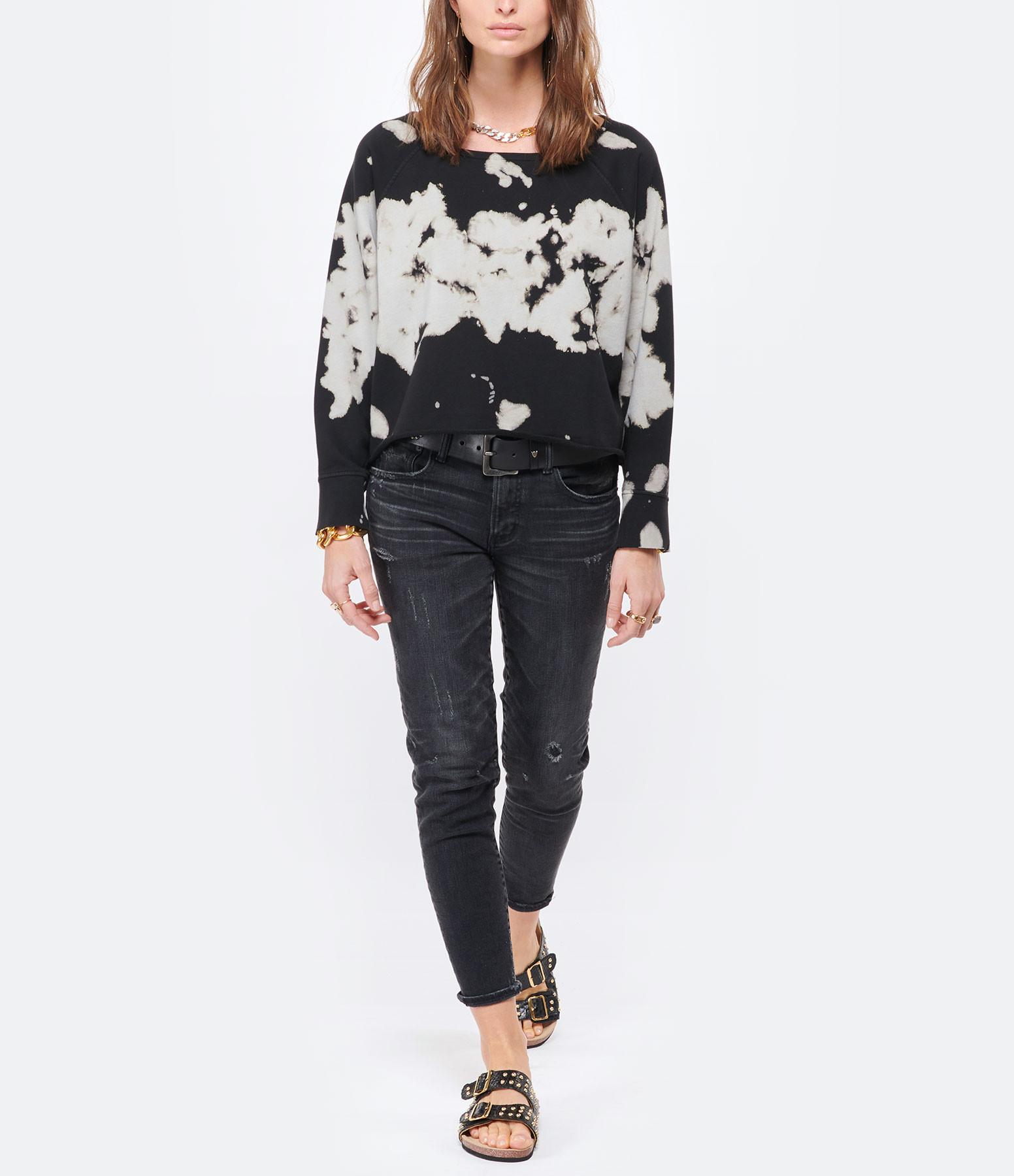 JEANNE VOULAND - Sweatshirt Faly Crop Coton Tie and Dye Noir Blanc