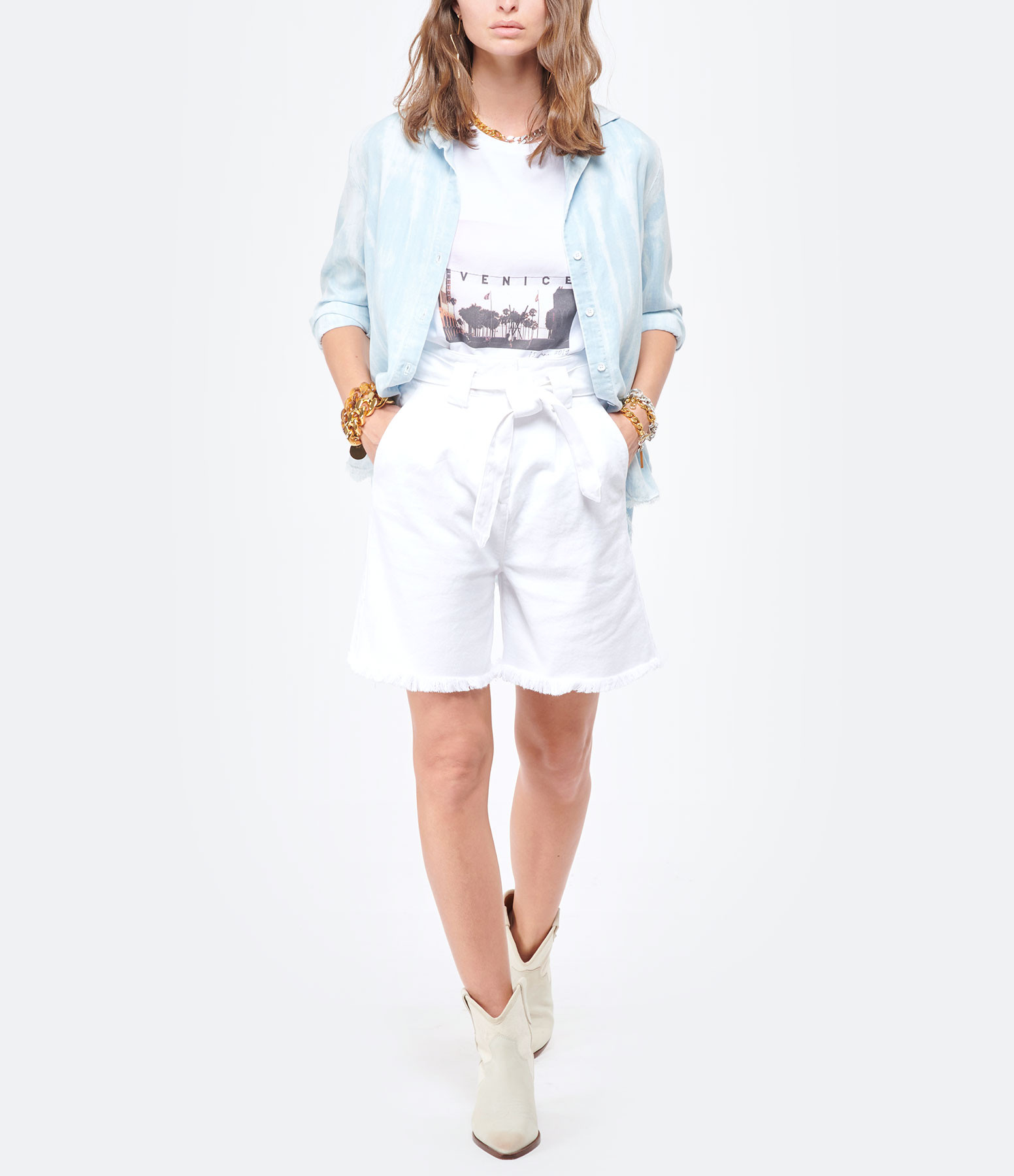 JEANNE VOULAND - Short Folco Denim Off White Blanc