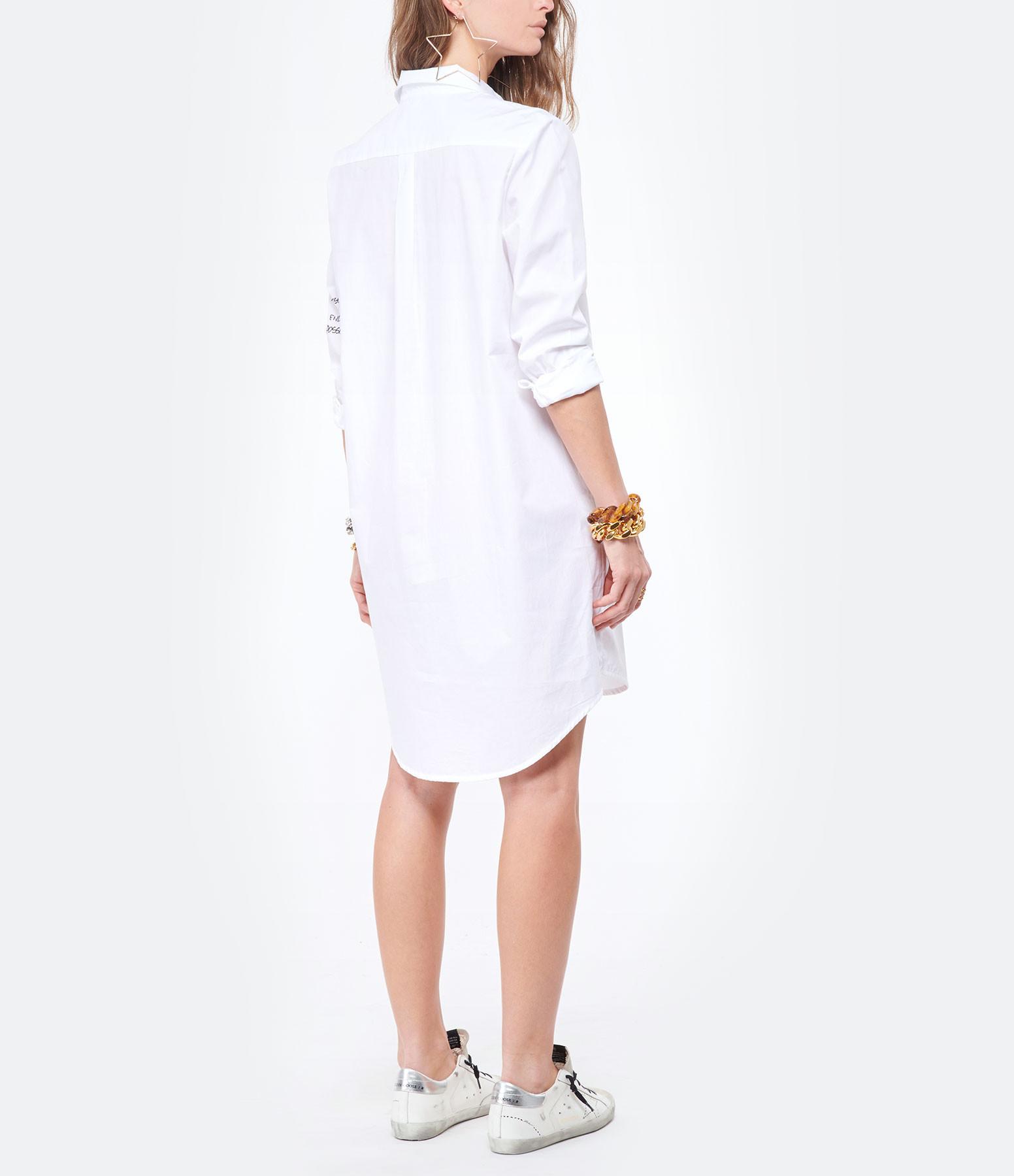JEANNE VOULAND - Robe Chemise Faidy Coton Brodé Blanc