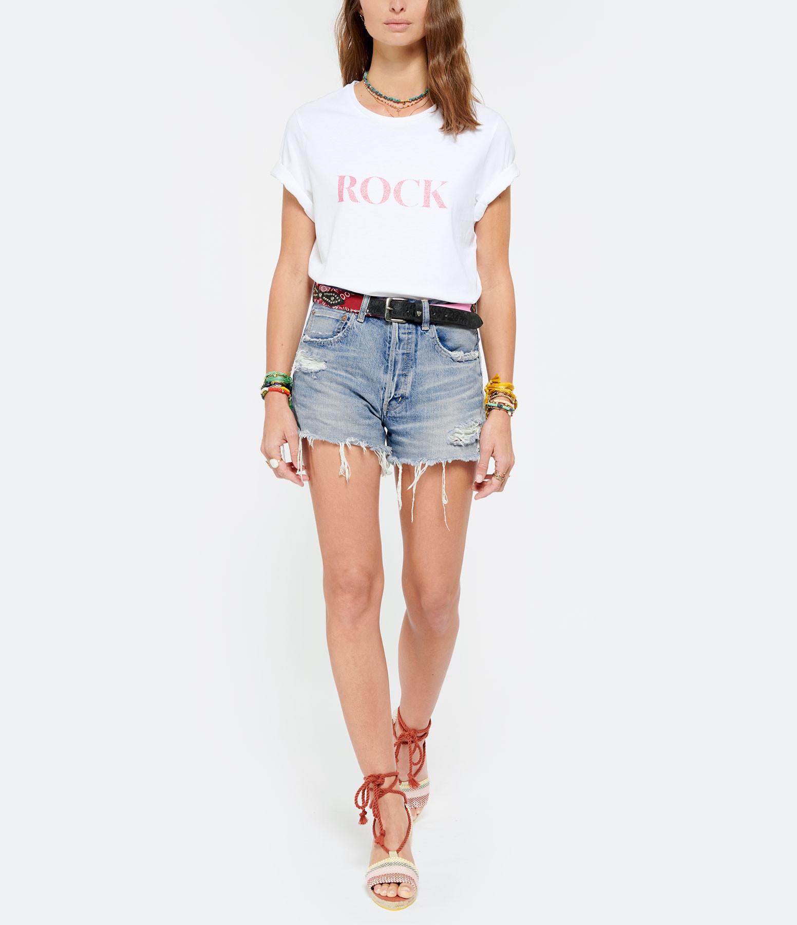JEANNE VOULAND - Tee-shirt Cris Coton Biologique Rock Love Glitter Rose