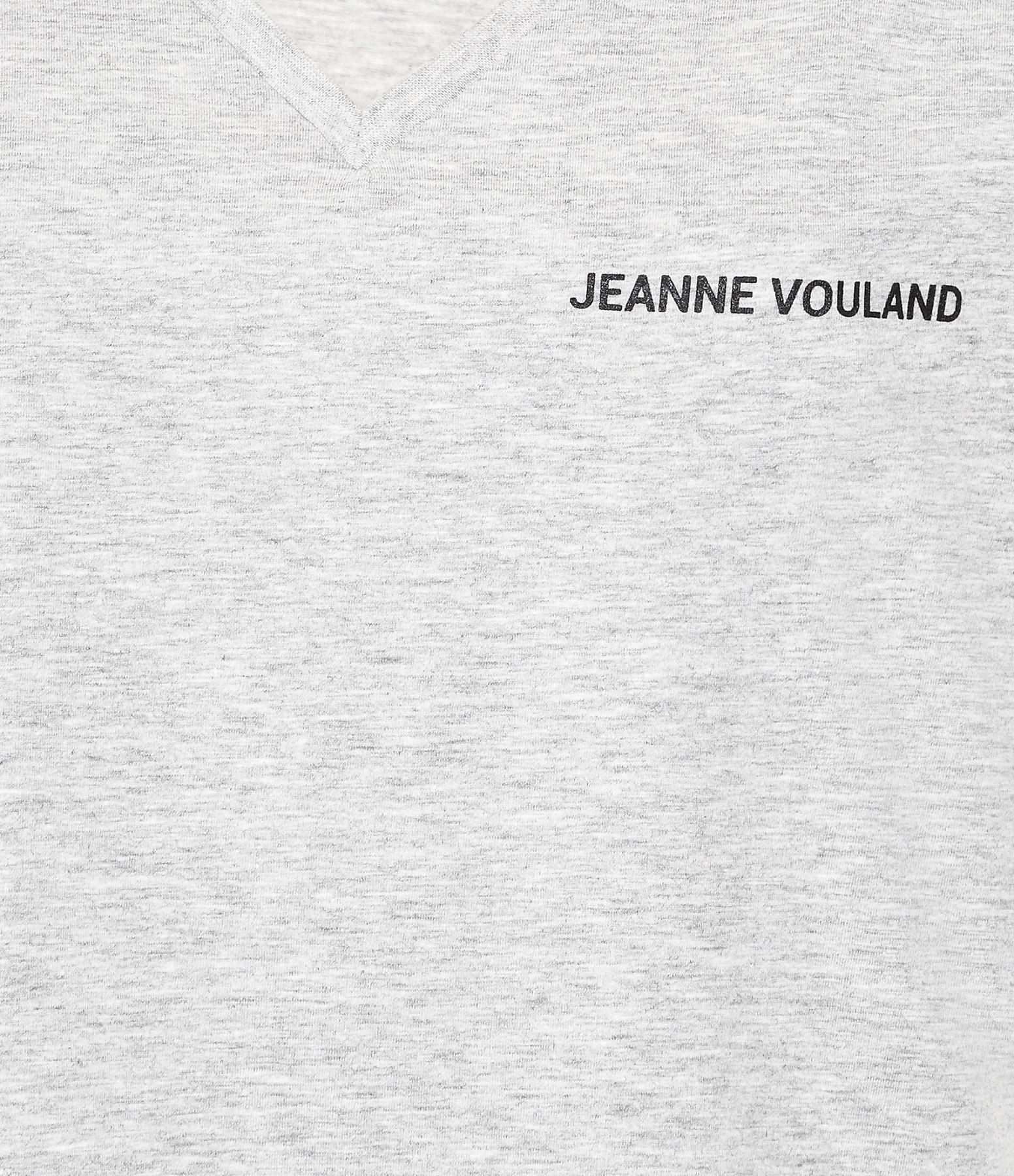 JEANNE VOULAND - Tee-shirt Aria JV Col V Gris Imprimé Noir