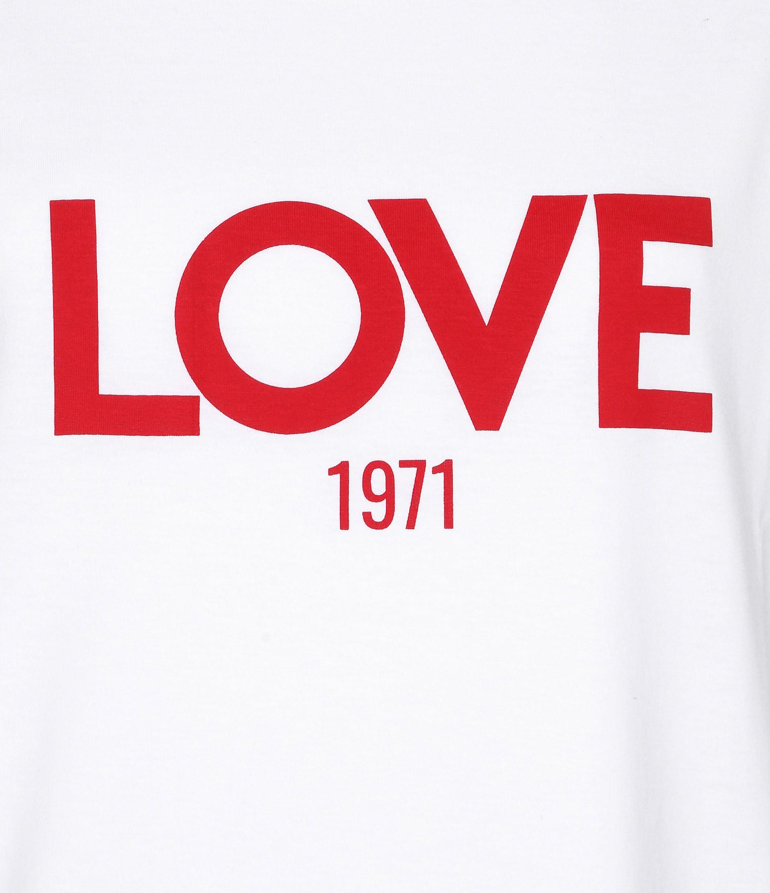 JEANNE VOULAND - Tee-shirt Ben Love 1971 Blanc Imprimé Rouge