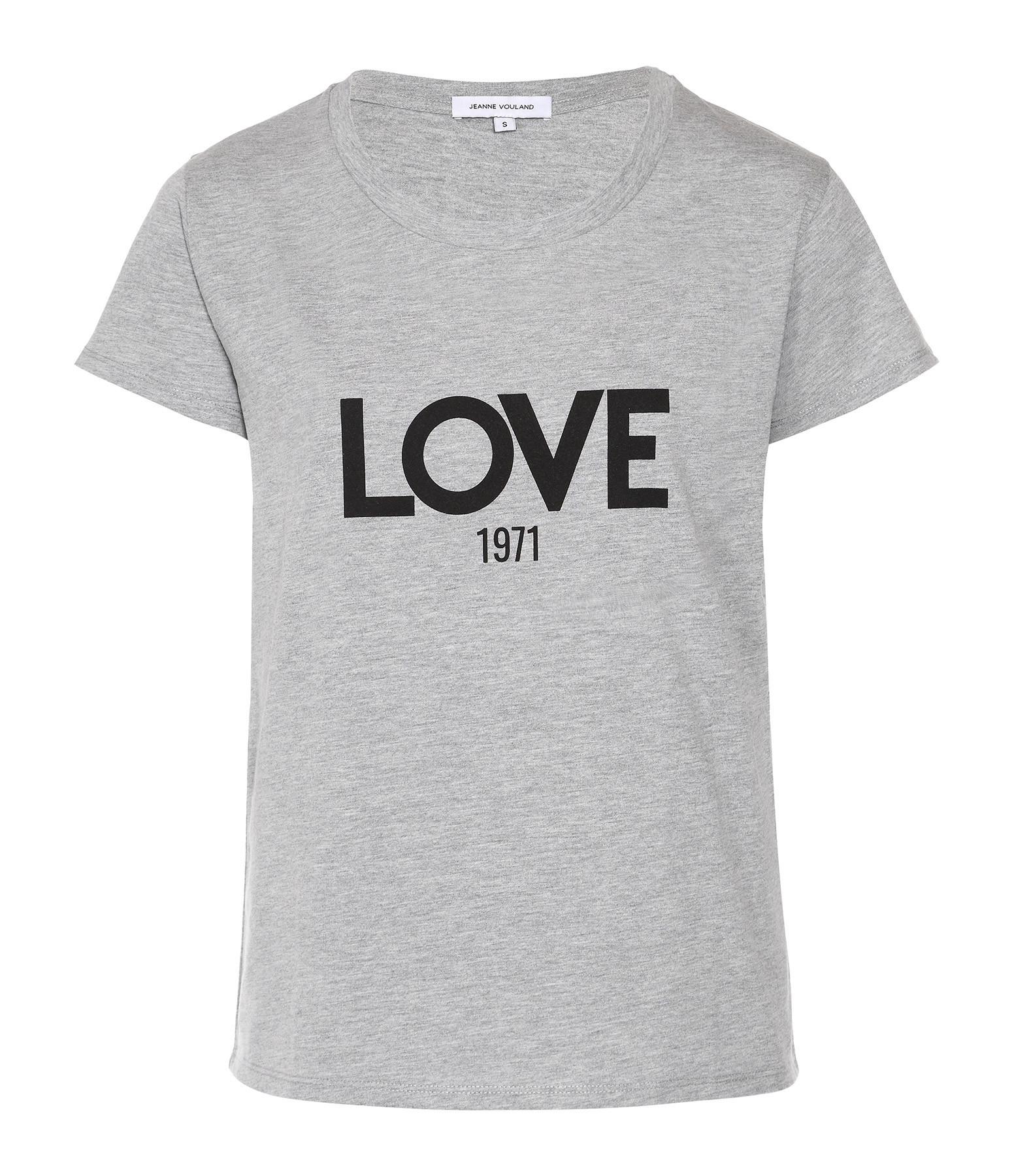 JEANNE VOULAND - Tee-shirt Ben Love 1971 Gris Imprimé Noir