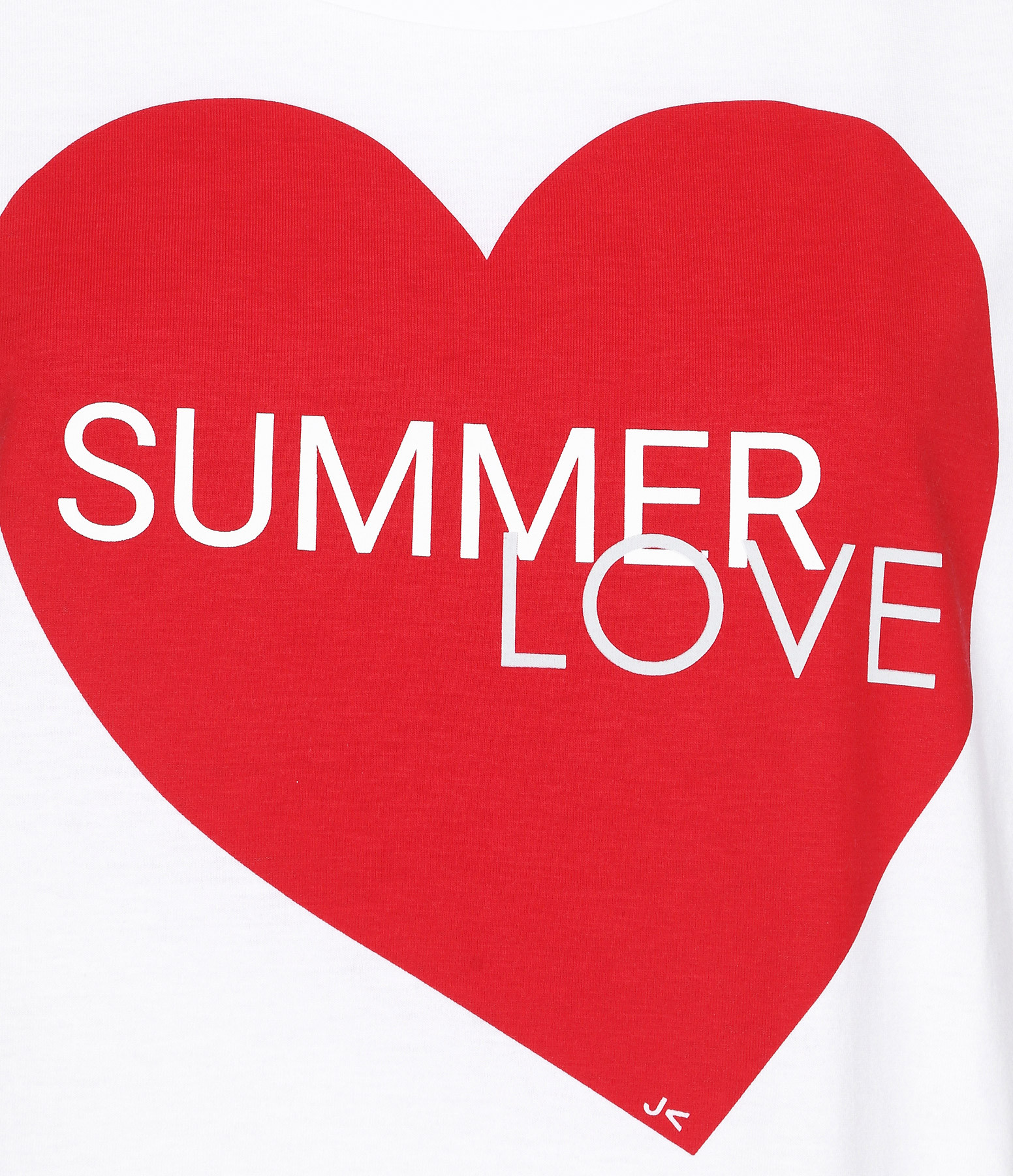 JEANNE VOULAND - Tee-shirt Bob Summer Love Blanc Imprimé Rouge