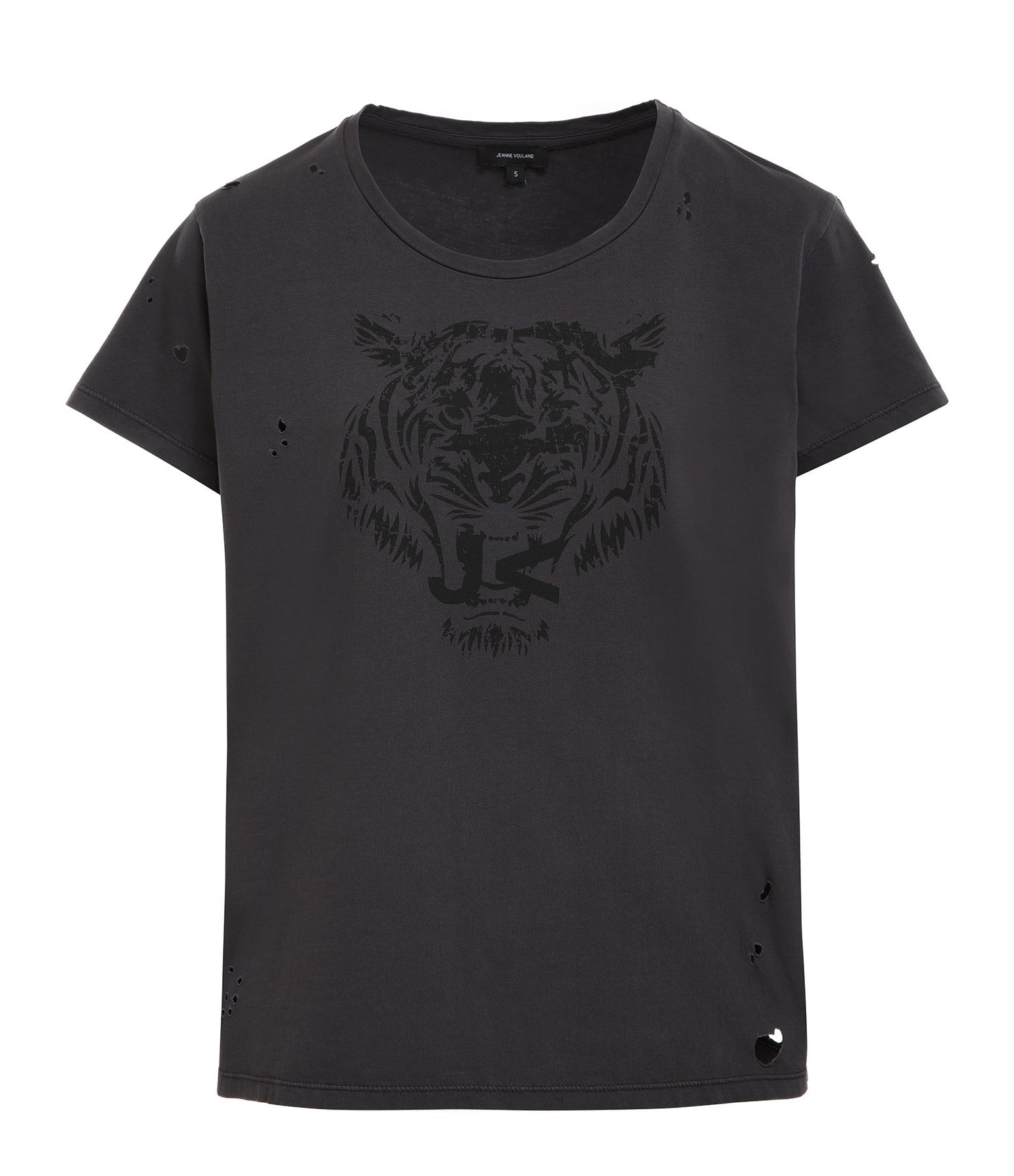 JEANNE VOULAND - Tee-shirt Ermes Destroy Coton Anthracite
