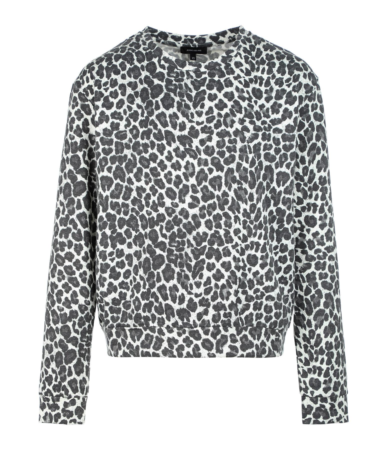 JEANNE VOULAND - Sweatshirt Molleton Imprimé Léopard Gris