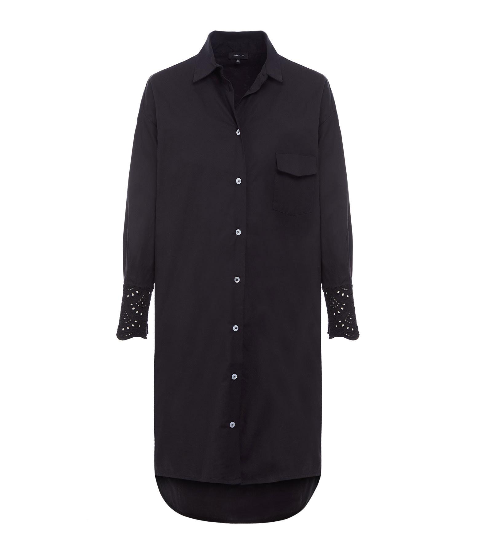 JEANNE VOULAND - Robe Chemise Feith Broderie Anglaise Coton Noir