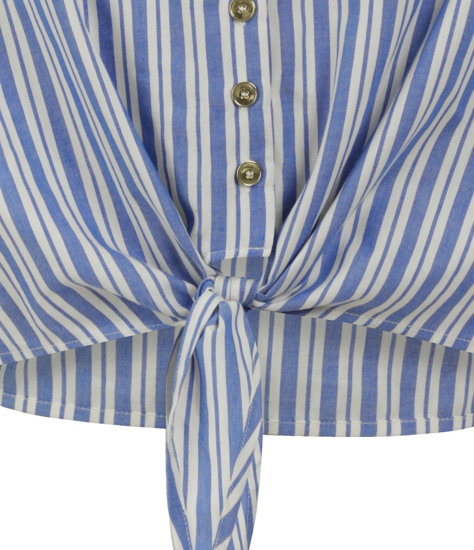 JEANNE VOULAND - Top Rivage Noeud Coton Rayé Bleu Blanc