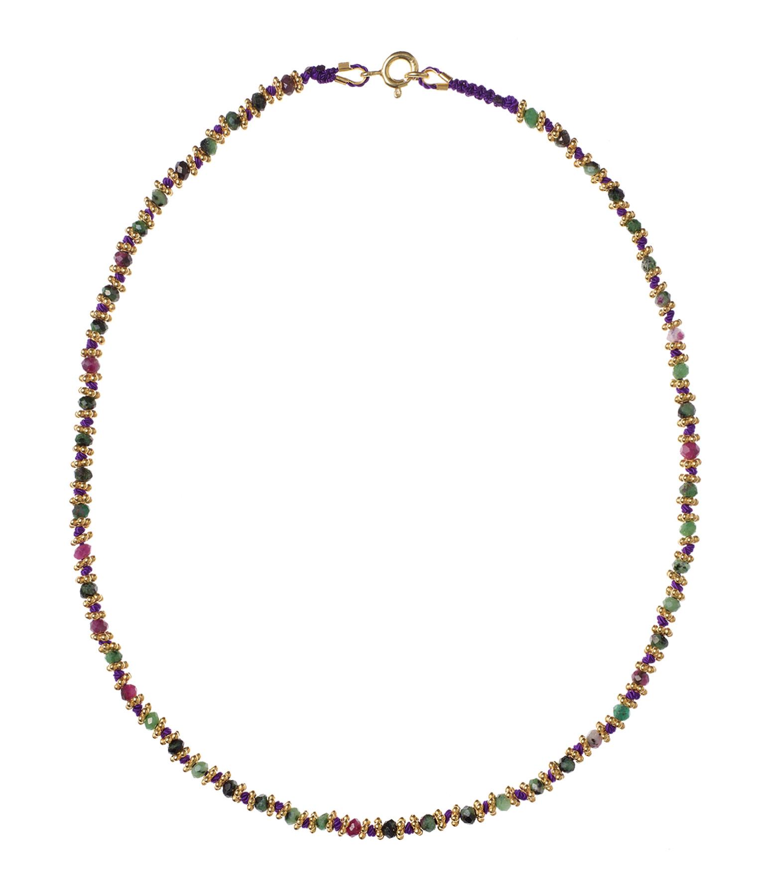 TITYARAVY - Collier Kamala Violet Rubisoizite Plaqué Or