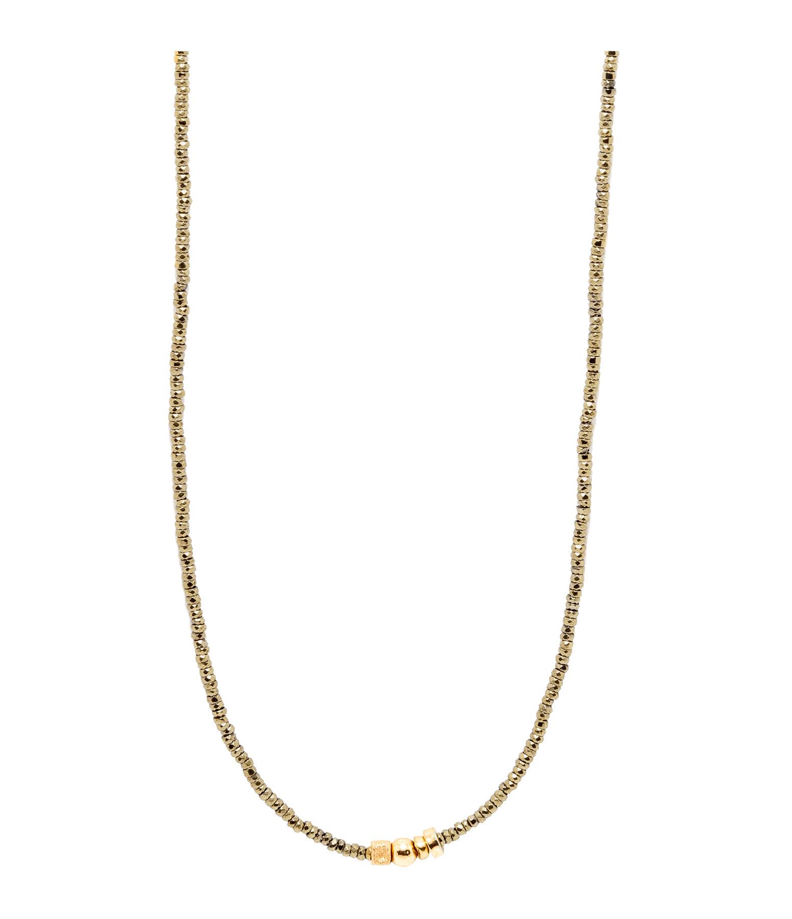 LSONGE - Collier Sublime 4 Perles Or Hématite Kaki