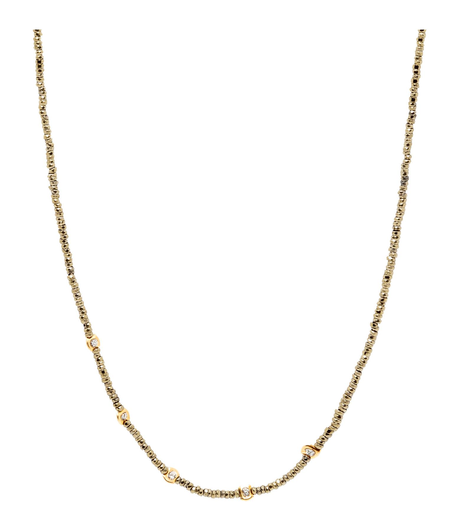 LSONGE - Collier Sublime 5 Perles Or Hématite Kaki