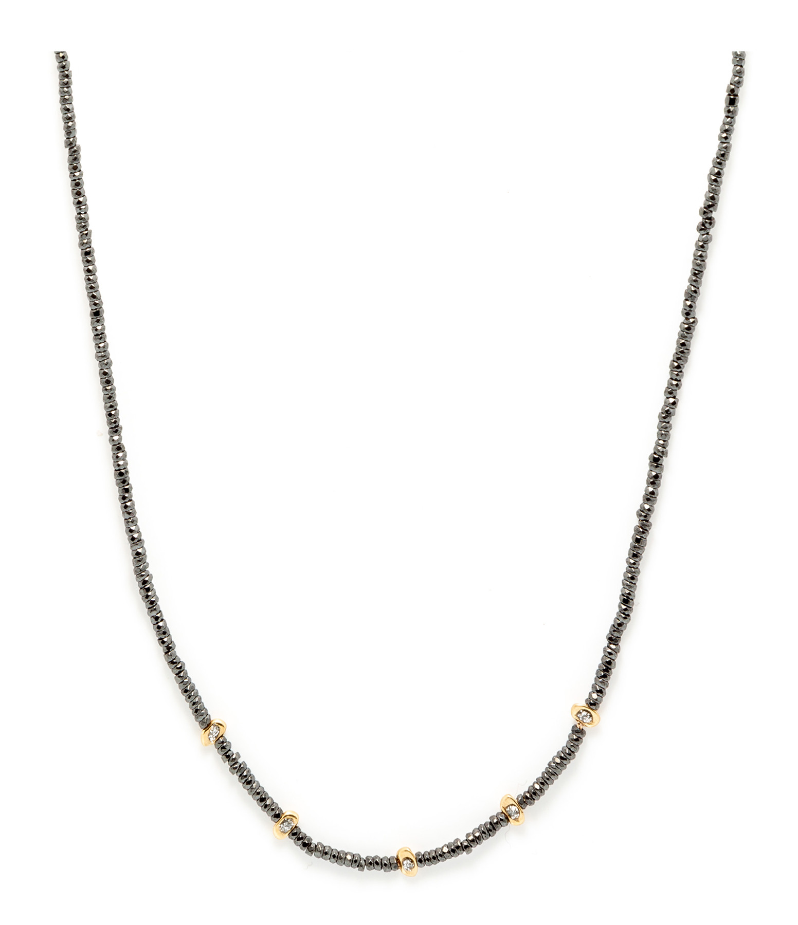 LSONGE - Collier Sublime 5 Perles Or Hématite Noir