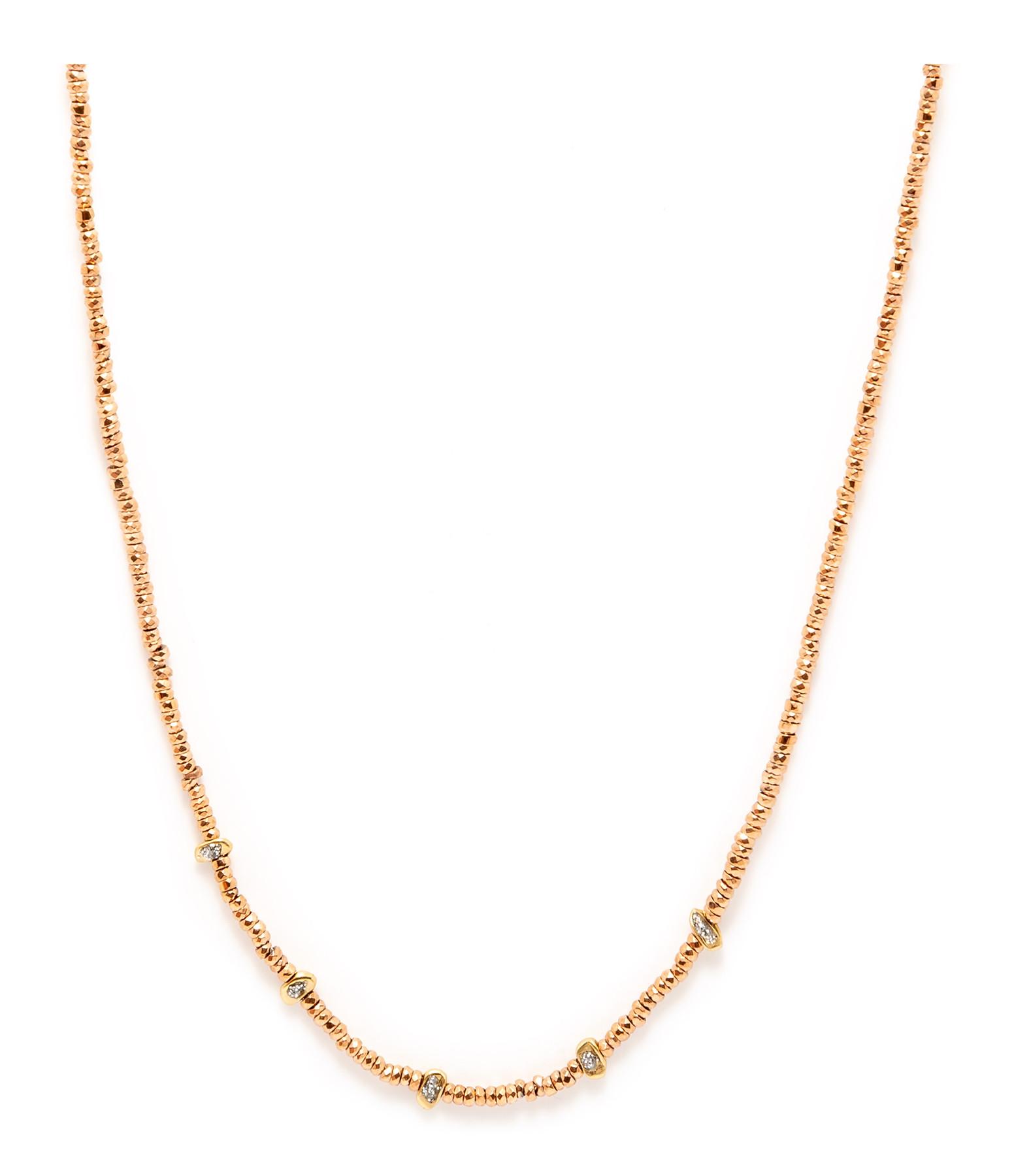 LSONGE - Collier Sublime 5 Perles Or Hématite Rose