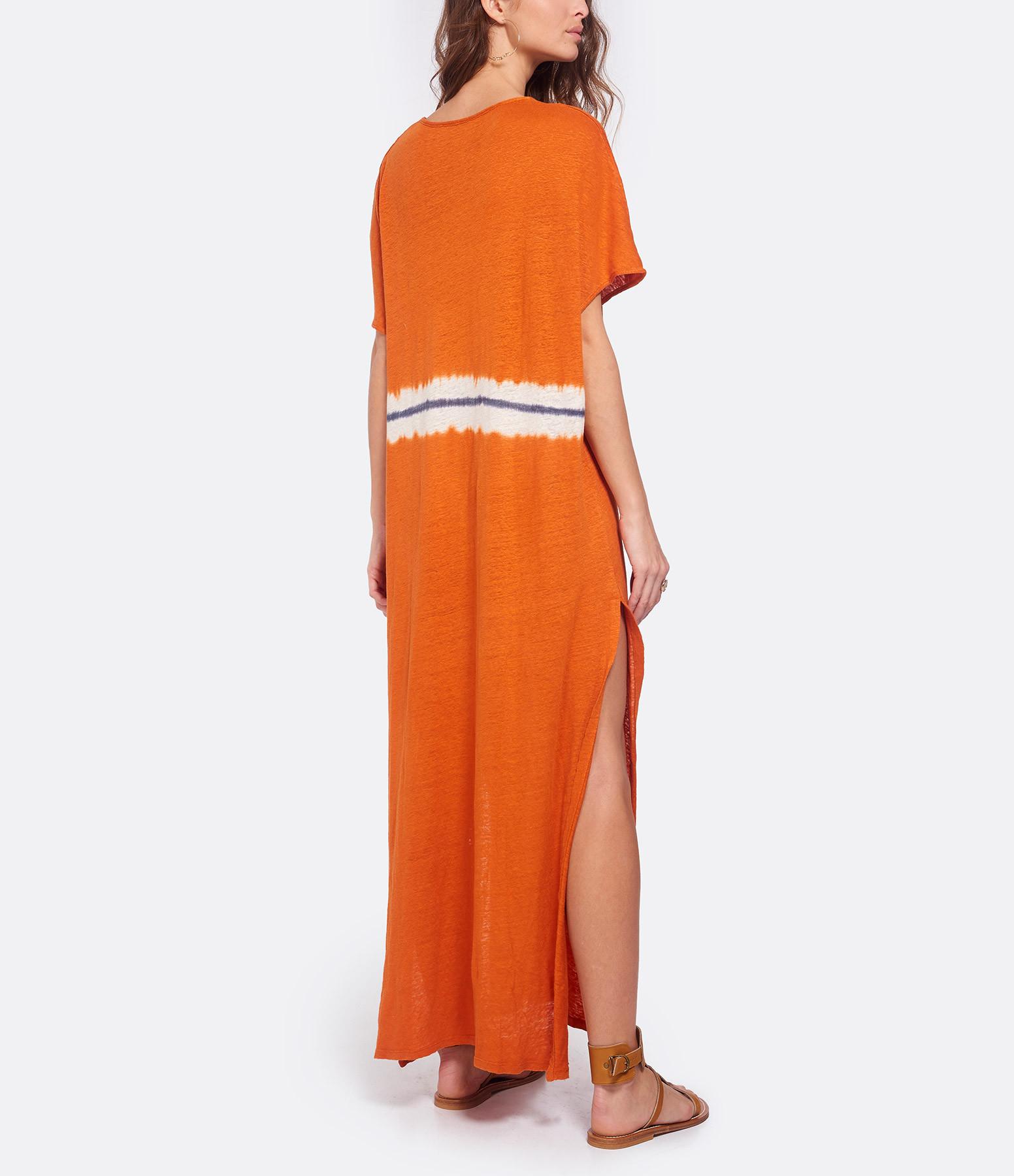 MAJESTIC FILATURES - Robe Tie & Dye Lin Orange Epice