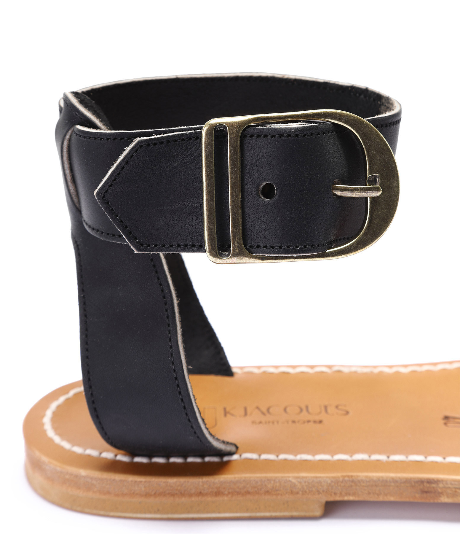 K JACQUES - Sandales Carbet Cuir Pul Noir Bronze