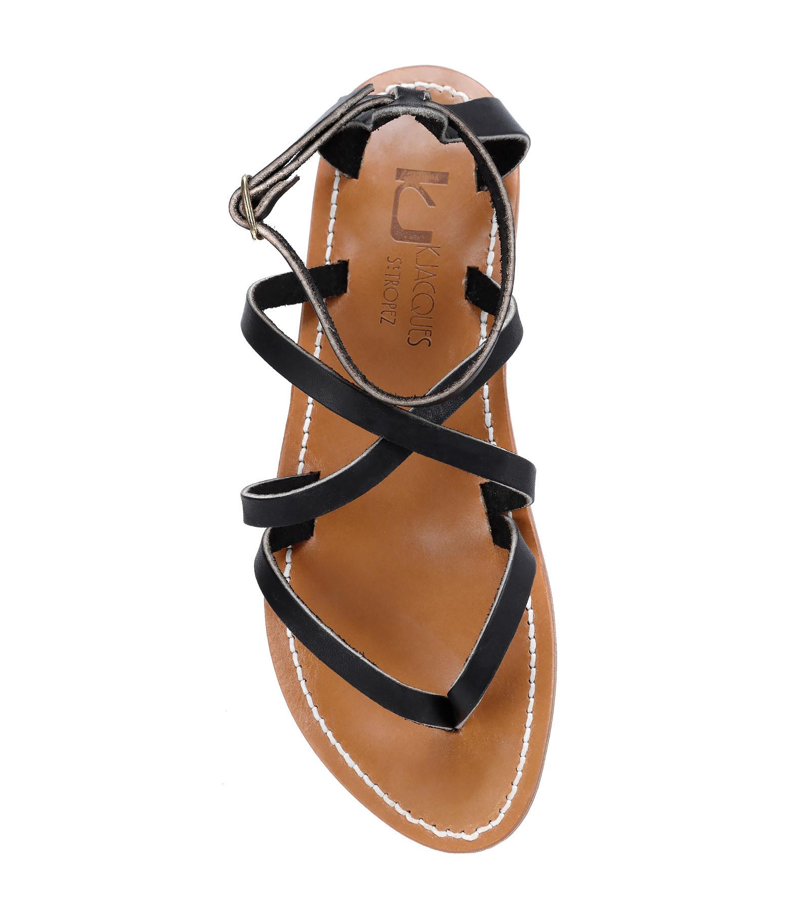 K JACQUES - Sandales Epicure Cuir Pul Noir Bronze
