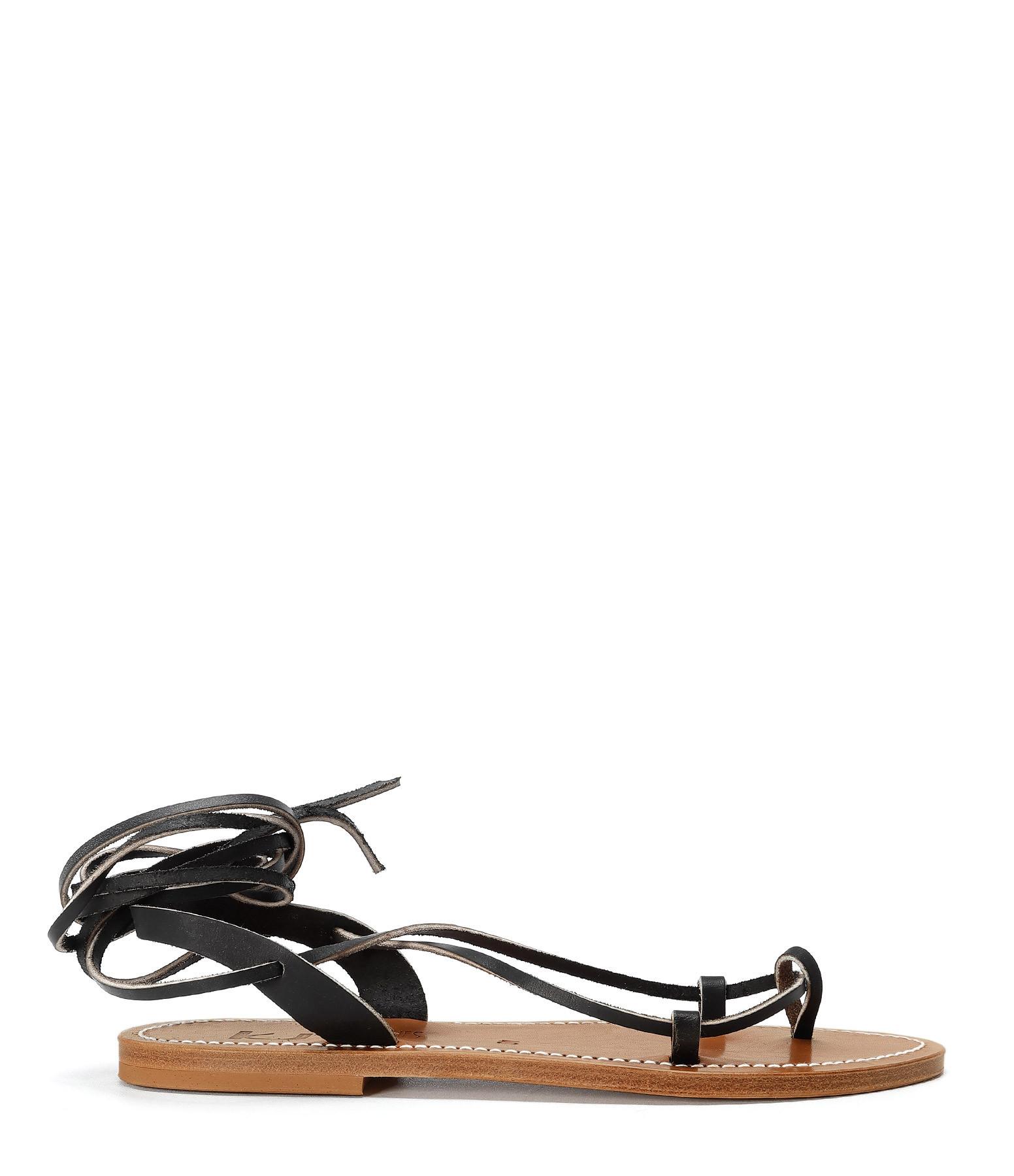 K JACQUES - Sandales Lucile Cuir Pul Noir
