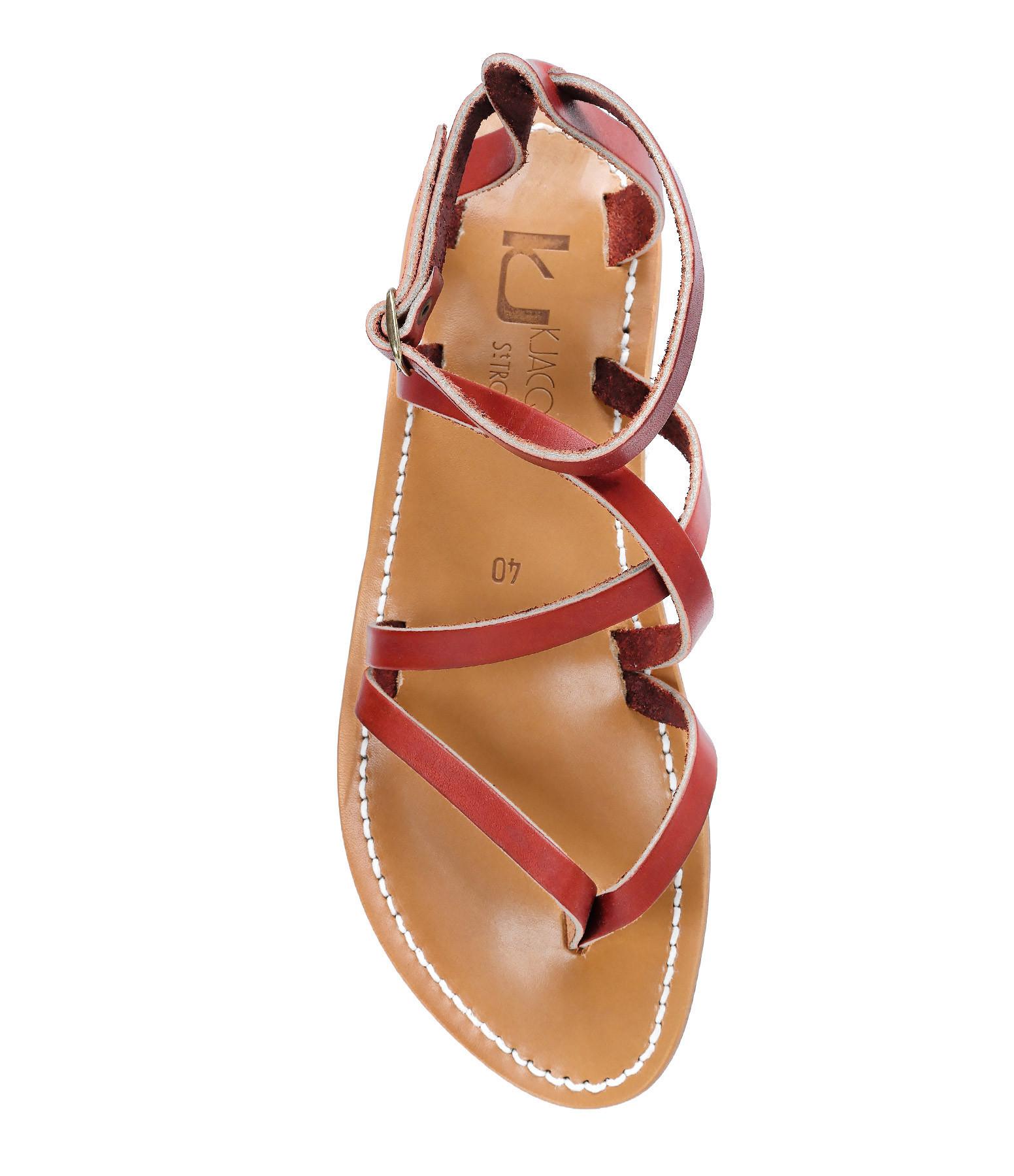 K JACQUES - Sandales Epicure Cuir Pul Rouge