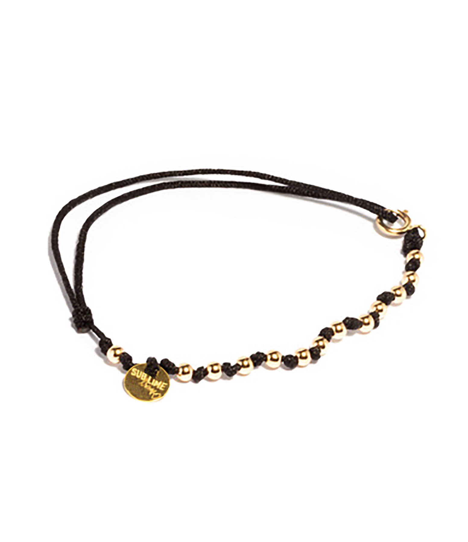 LSONGE - Bracelet Sublime M Comme Méditer 13 Perles Noir Or