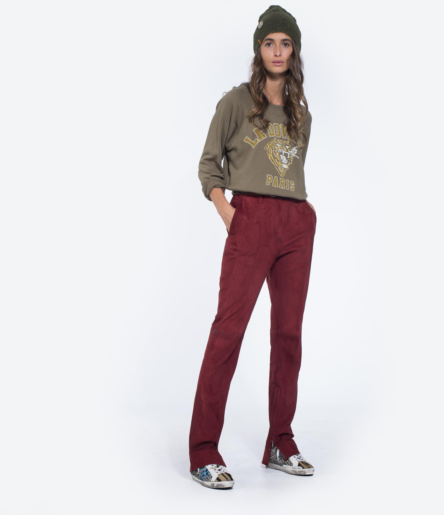 GOLDEN GOOSE - Pantalon Cembra Cuir Bordeaux