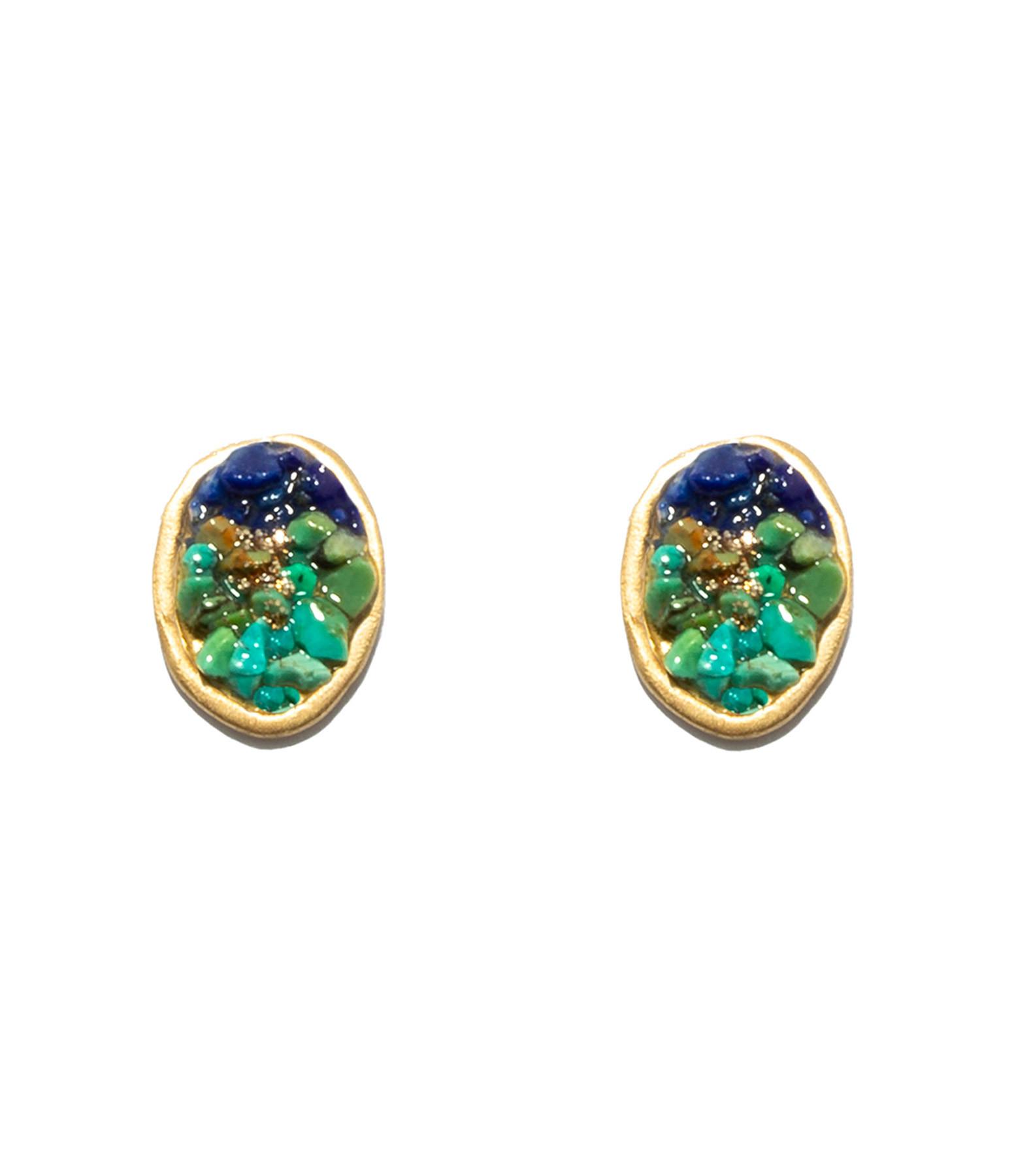 LSONGE - Boucles d'oreilles Puces Lakota Lapis Turquoise
