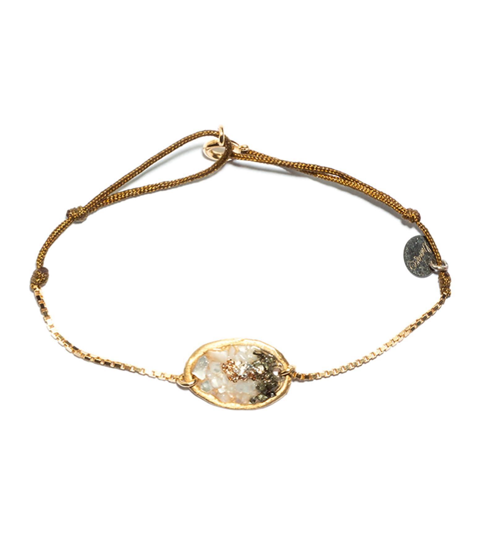 LSONGE - Bracelet Cordon Lakota M Nacre Pyrite